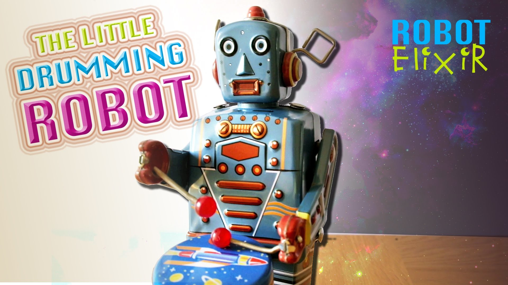 1920x1080 The Little Drumming Robot - Retro Musical Windup Toy
