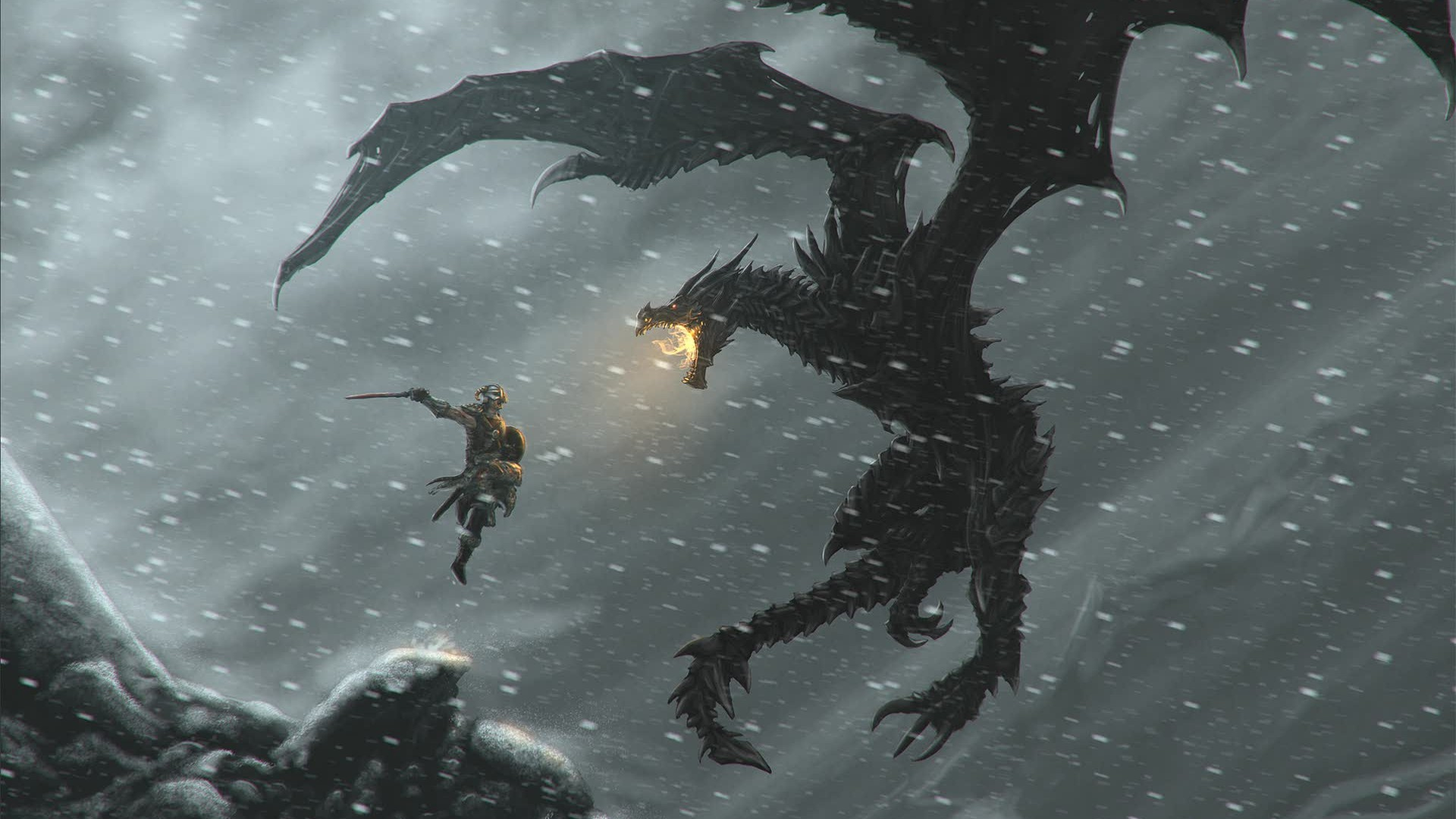 1920x1080 Red-Eyes Black Dragon Wallpaper HD