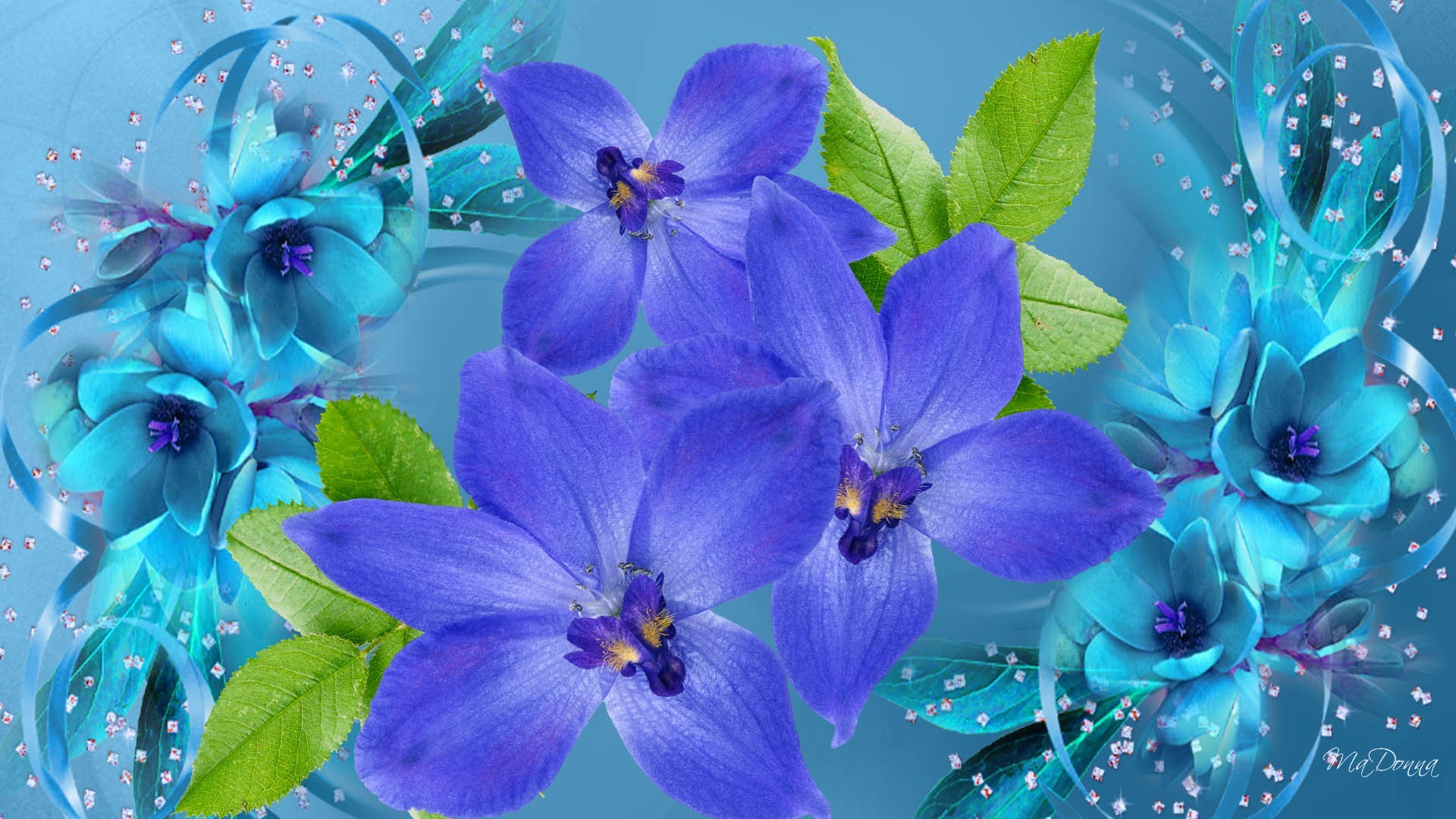 1920x1080 Blue Flowers Background 23 Cool Hd Wallpaper