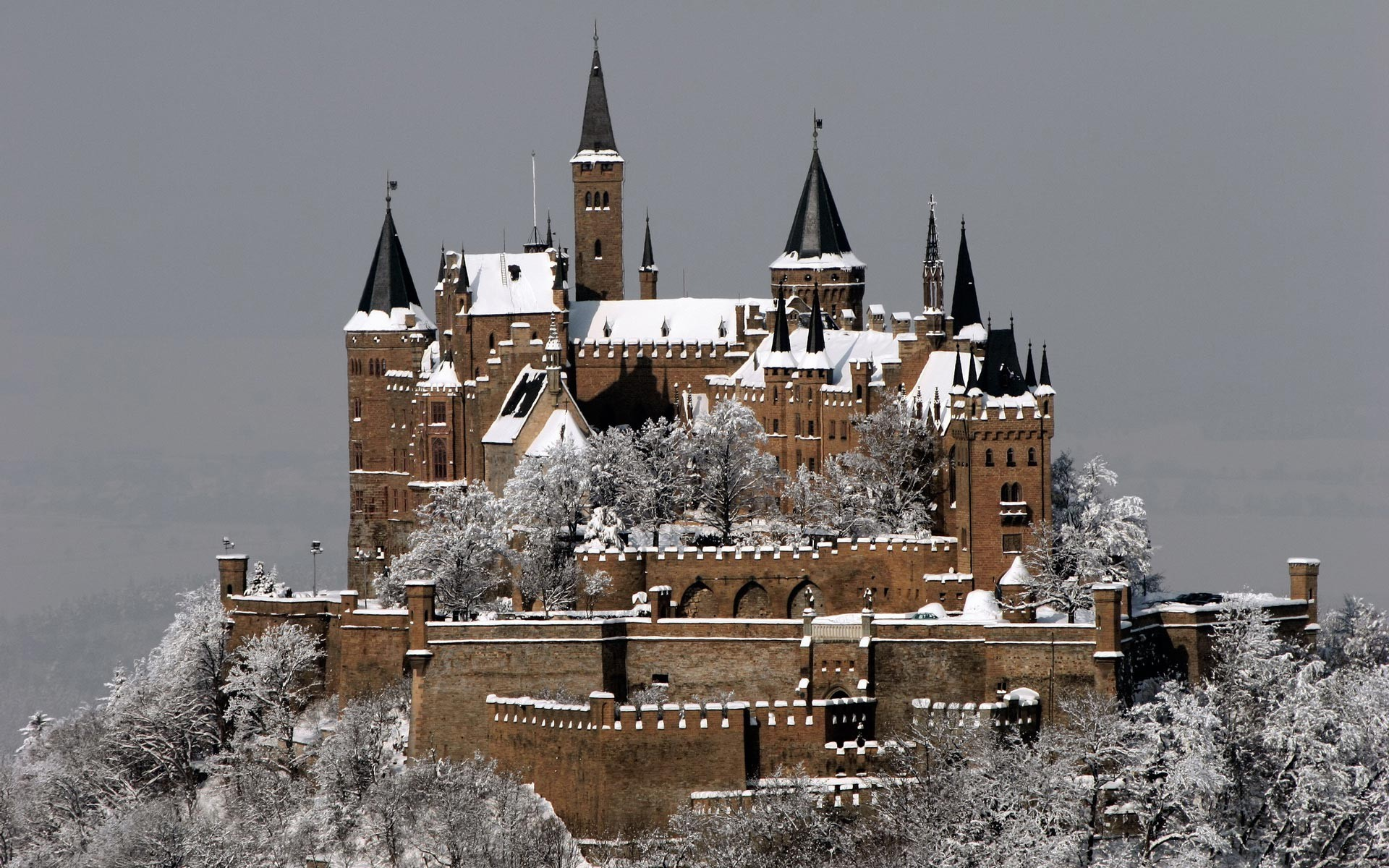1920x1200 Architecture Buildings Castles Germany Hohenzollern Medieval Winter ...