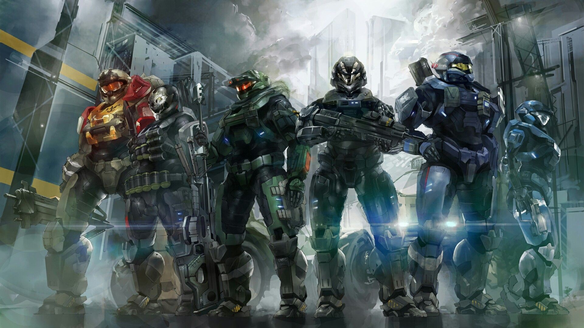 1920x1080 Noble Team Fallout 4 Weapons, Dbz, Mass Effect, Master Chief, Halo Game