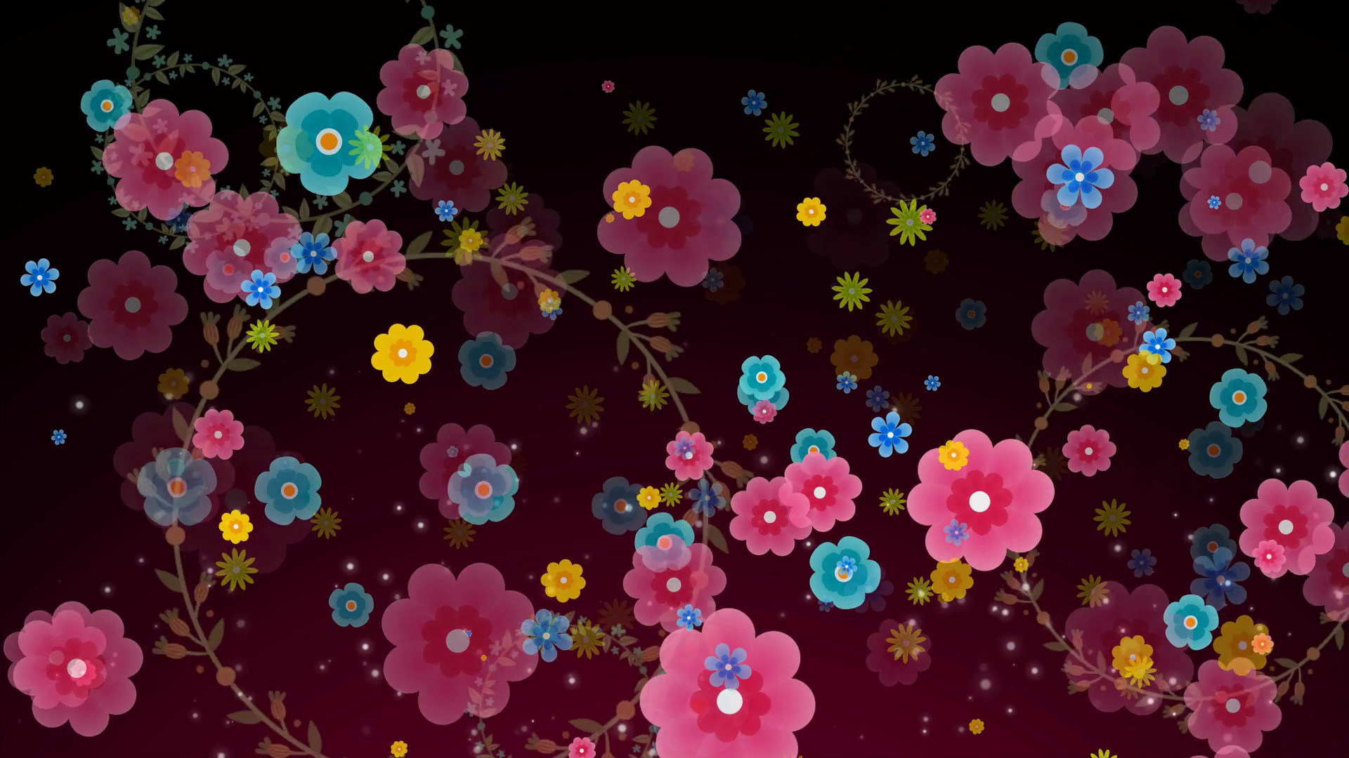 1920x1080 Seamless animation of colorful flower motion graphic with flower garland  ring background pattern texture in 4k