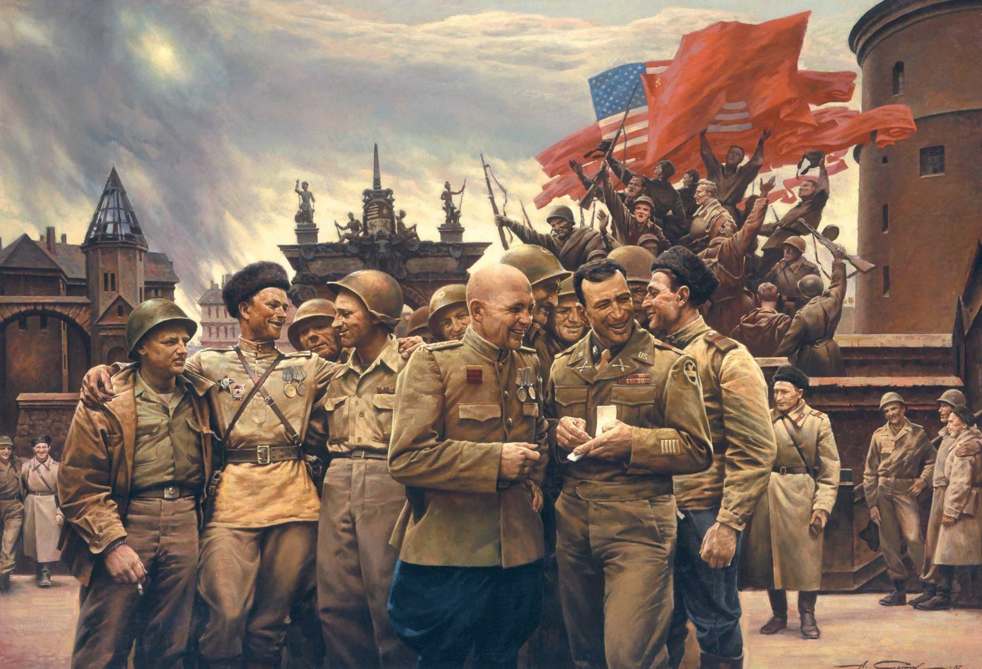 1920x1309 war victory men soviet union united states flags