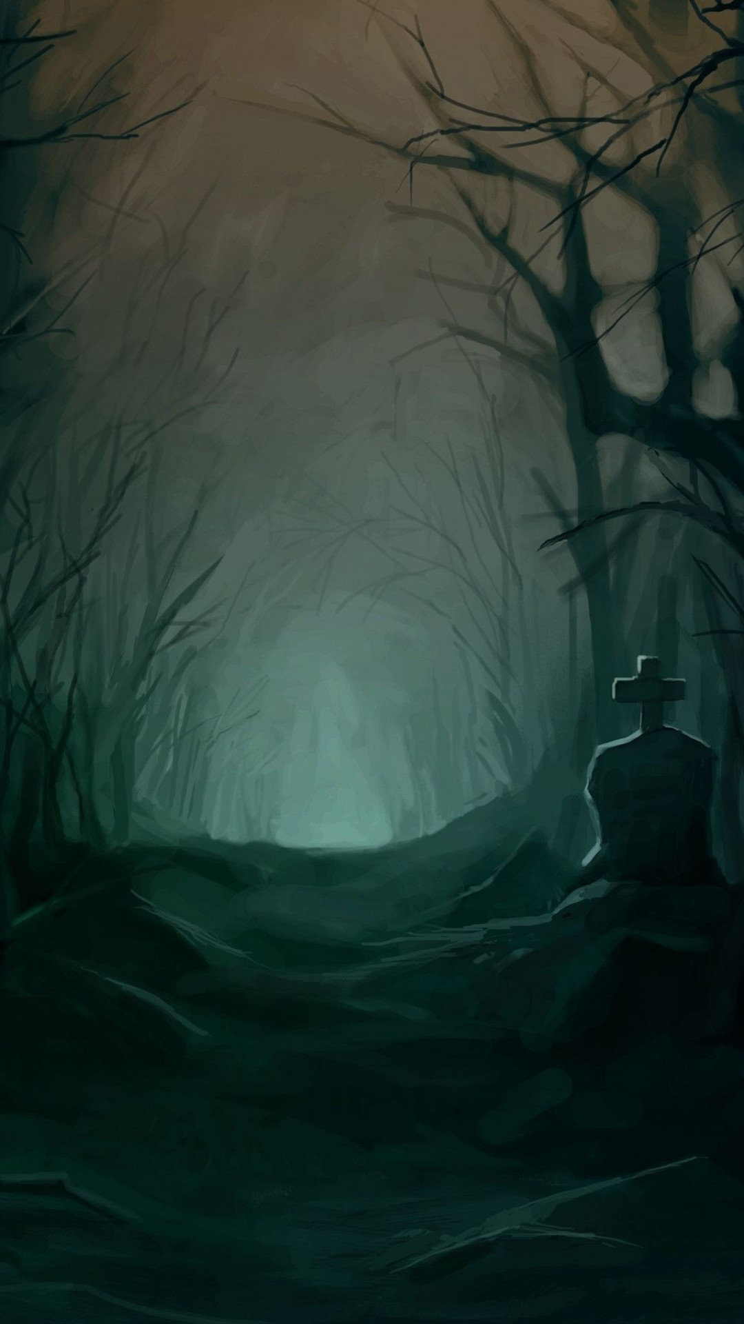 1080x1920 Dark Forest, Creepy, Grave, Path, Scary, Trees