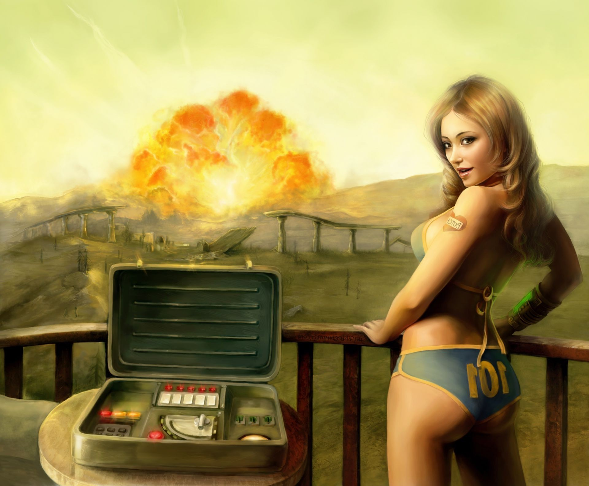 1920x1584 tenpenny babe Fallout 3 girl explosion