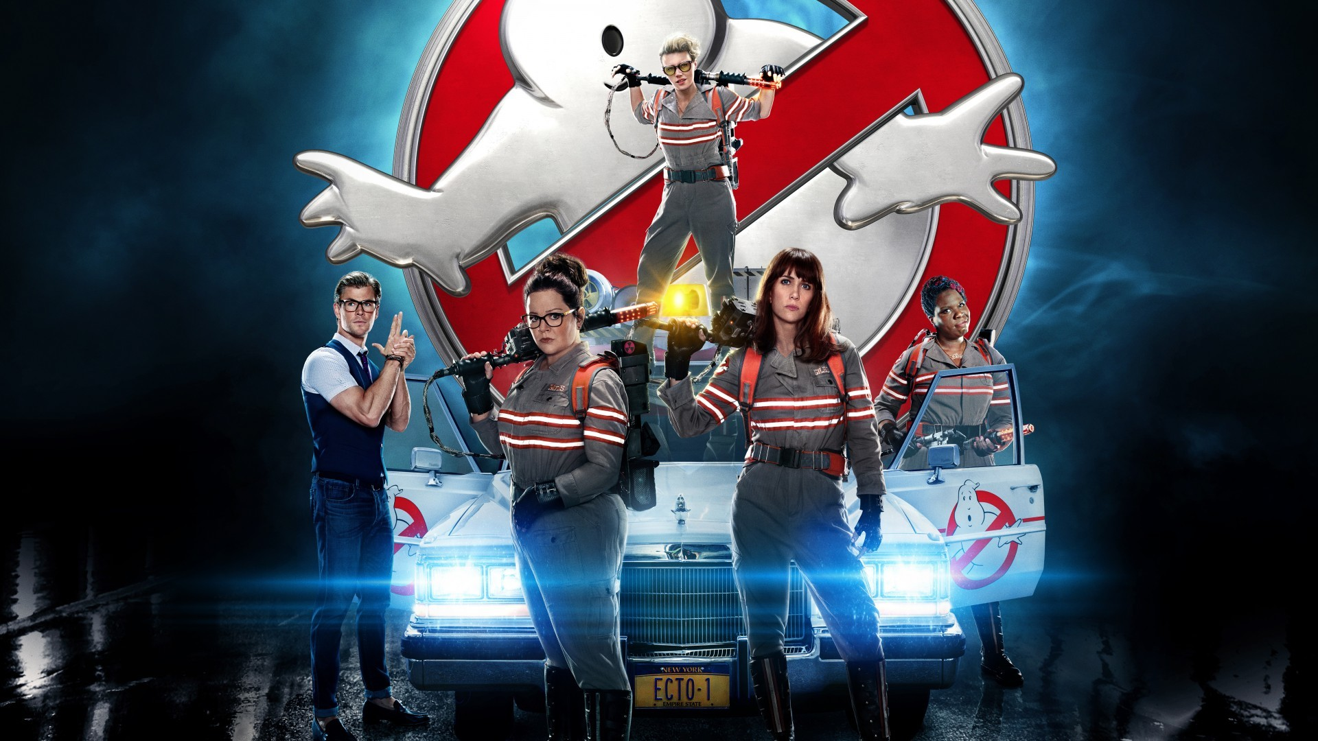1920x1080 Wallpaper Ghostbusters, Leslie Jones, Melissa McCarthy, Kate McKinnon,  Kristen Wiig, Movies, #1168