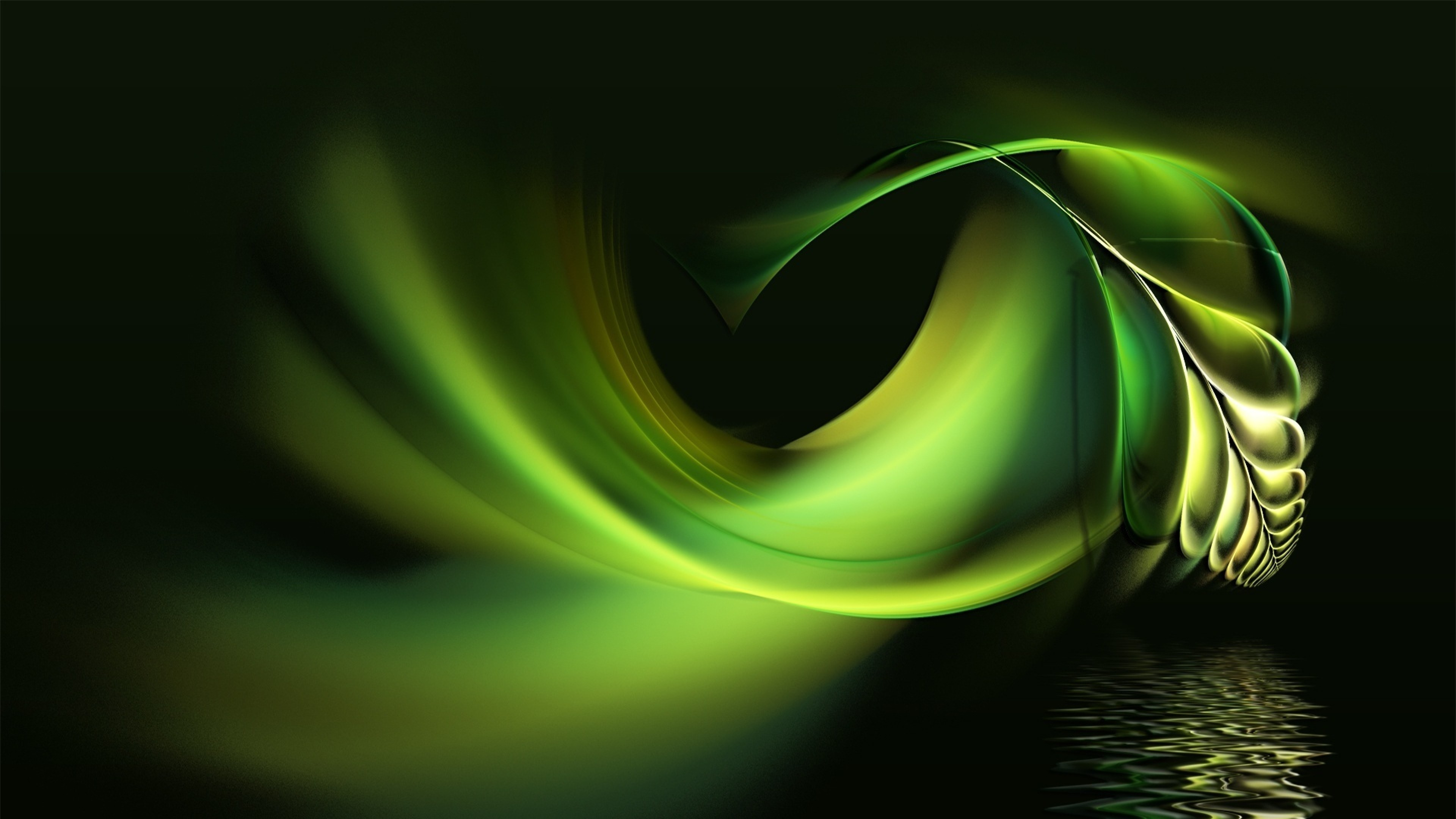 3840x2160 Preview wallpaper black, white, abstract, pen, water, green