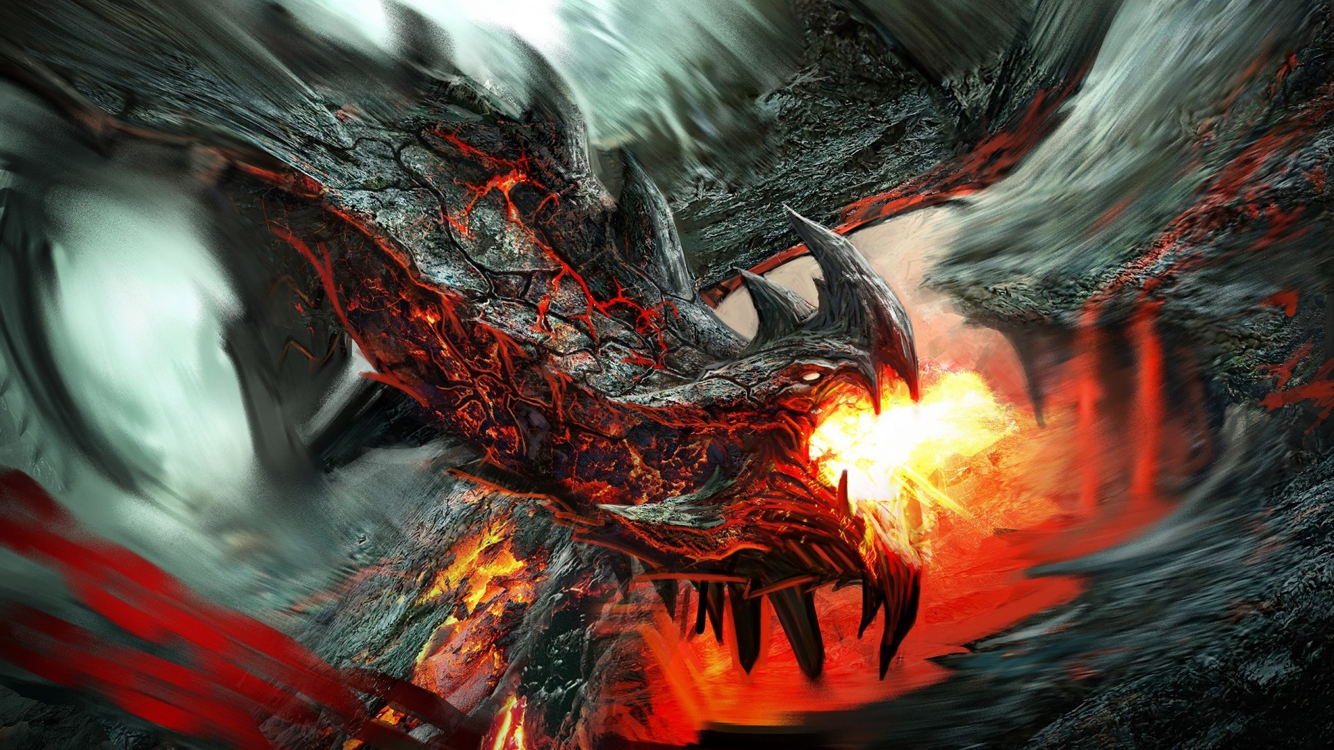 1920x1080 Preview wallpaper dragon, fire-breathing, flame, art