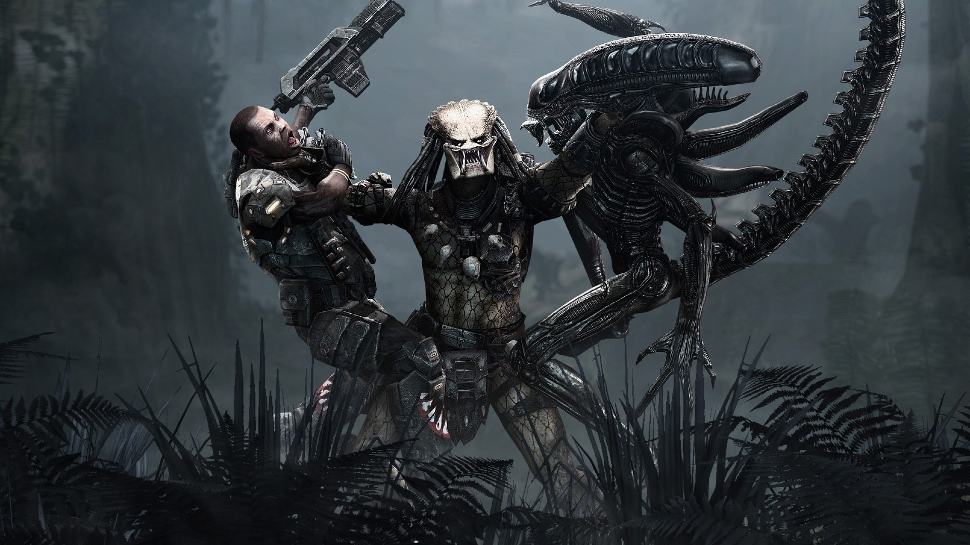 1920x1080 ... Full HD Wallpaper alien vs predator scramble monster jungle rifle .