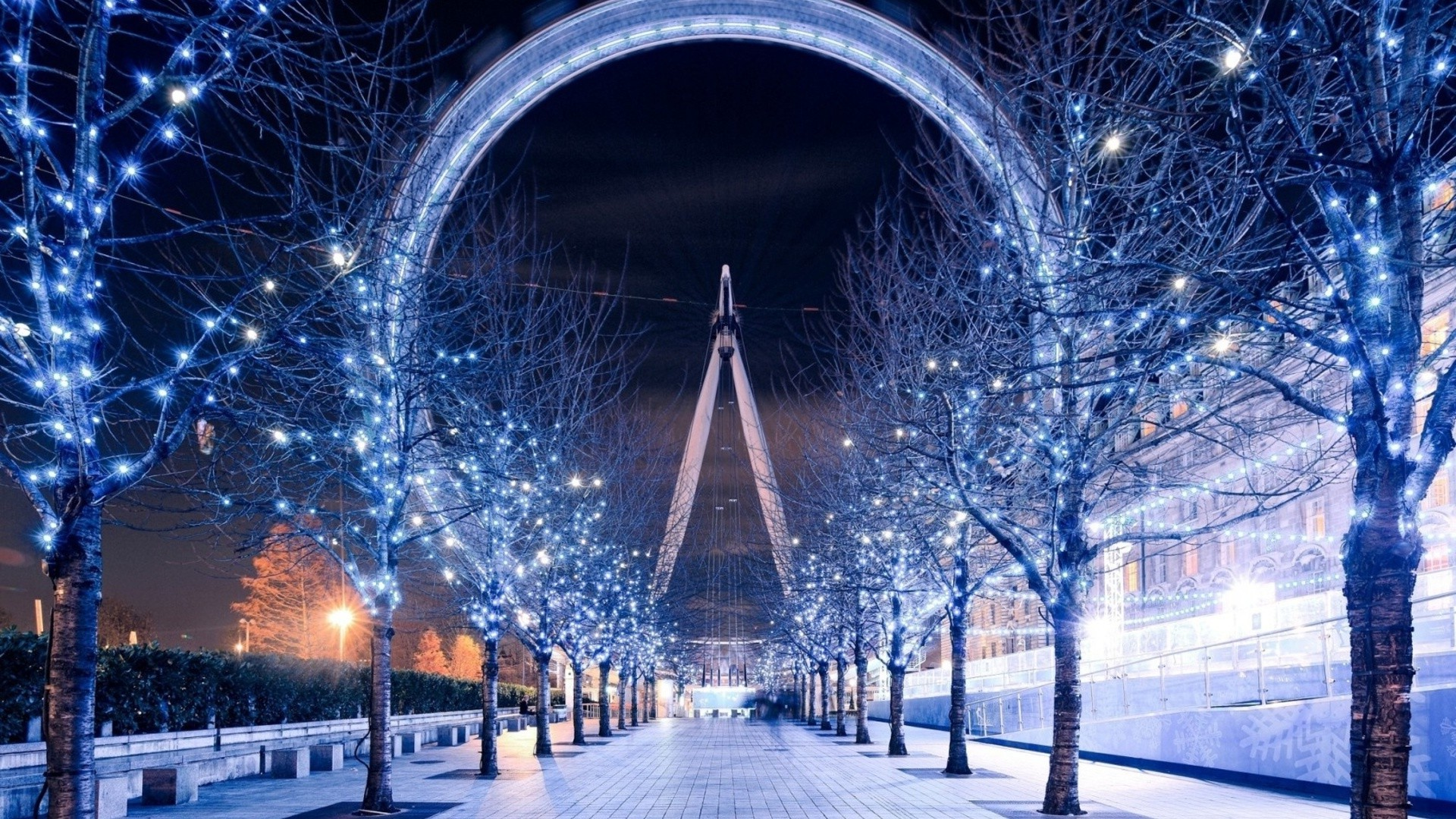 1920x1080 London Eye, Christmas Lights, Trees, London, Path Wallpapers HD / Desktop  and Mobile Backgrounds
