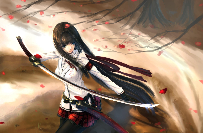 Anime girl warrior wallpaper 77 images - Girl with sword wallpaper ...