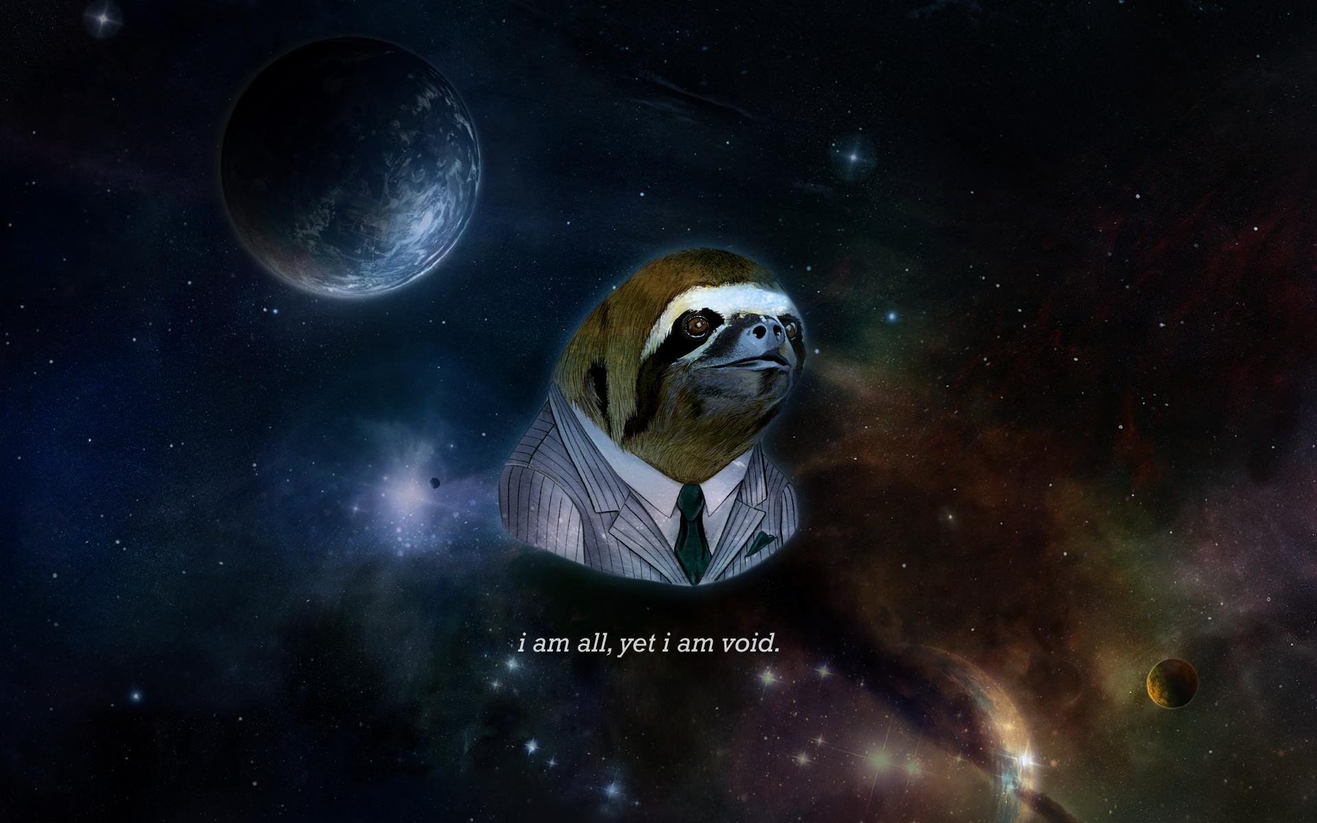 1920x1200 Cosmic sloth, my variant of the business sloth desktop background .
