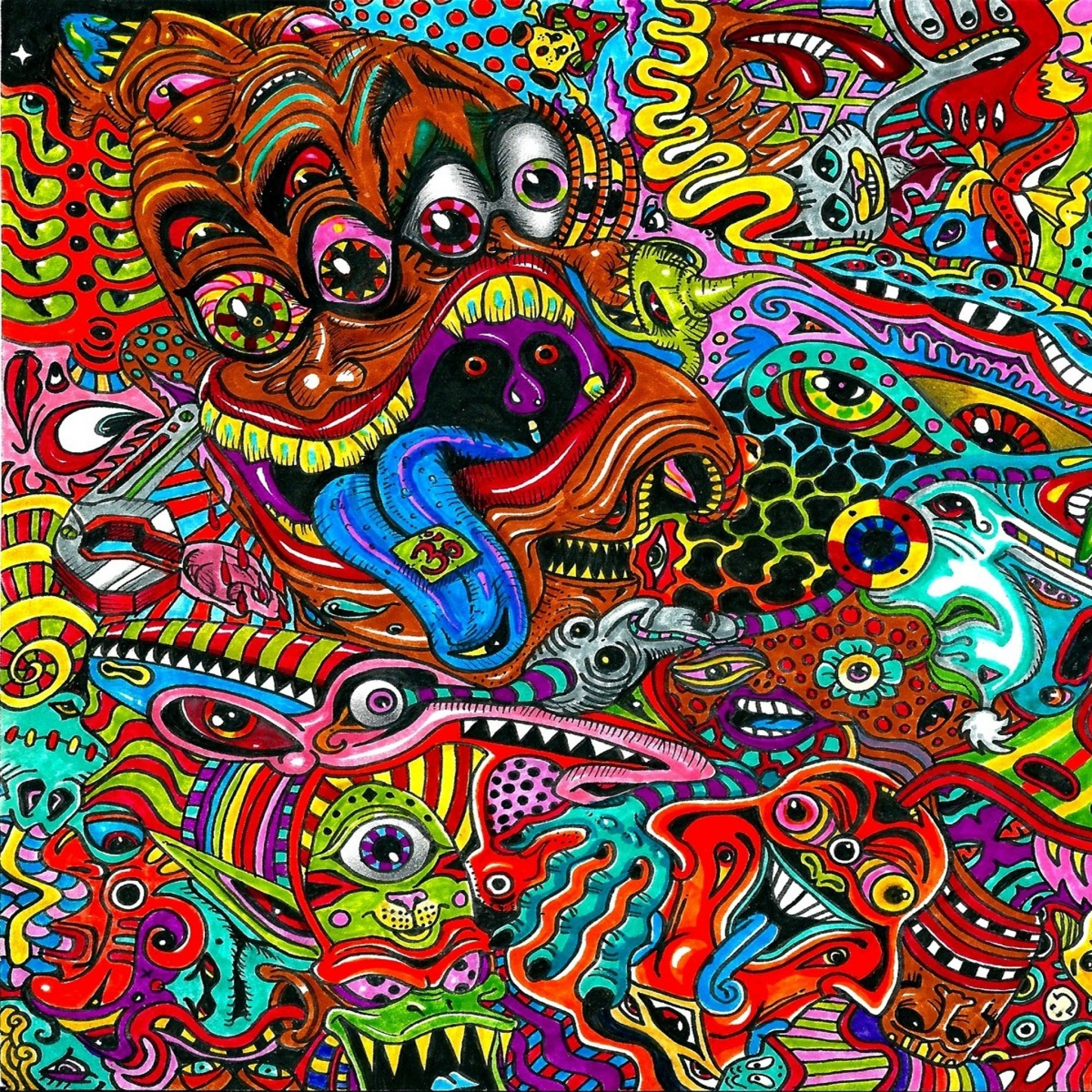 2048x2048 Preview wallpaper drawing, surreal, colorful, psychedelic