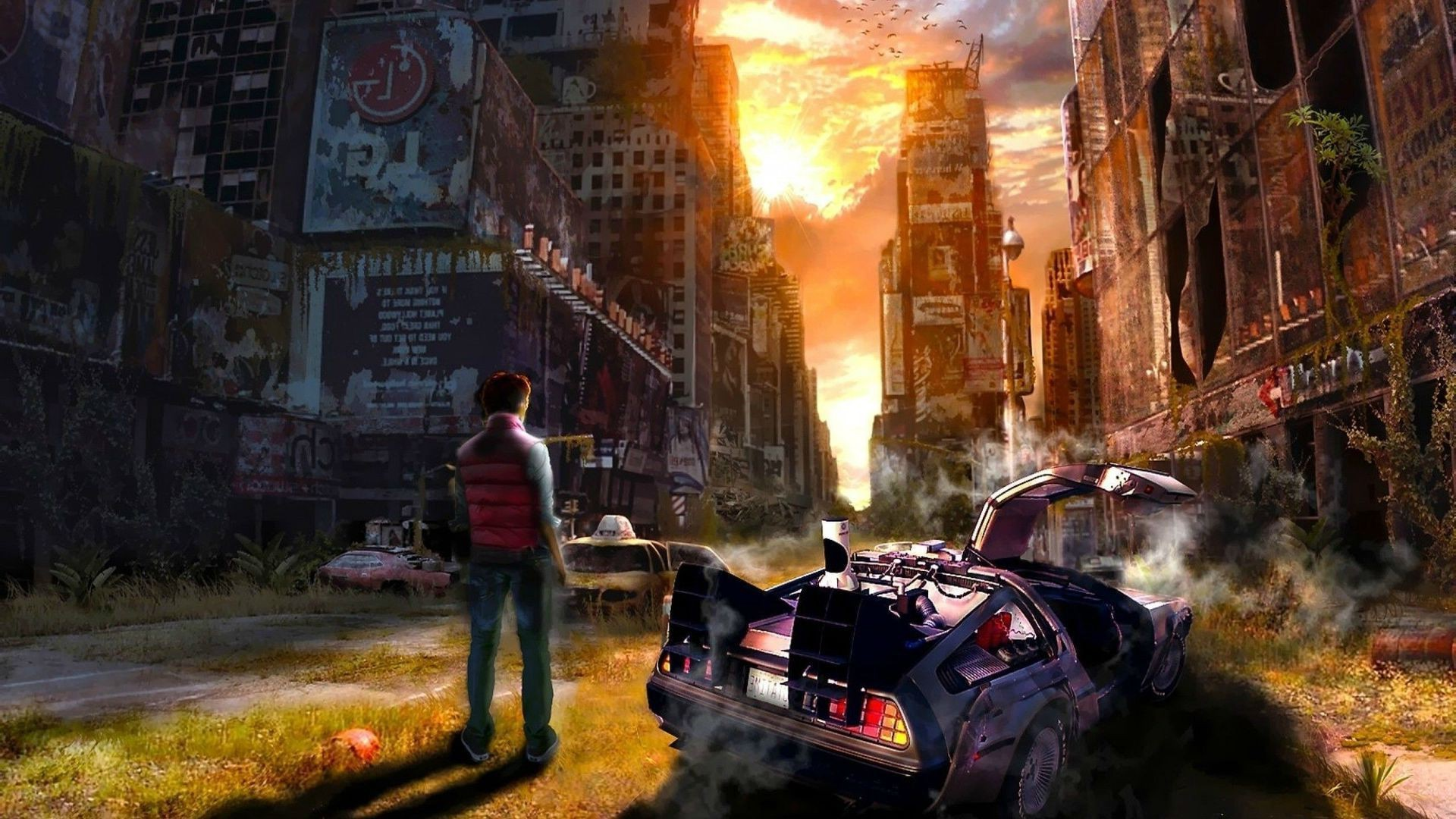 1920x1080 artwork, Back To The Future, Fantasy Art, DeLorean, Digital Art, Concept  Art, Time Wallpapers HD / Desktop and Mobile Backgrounds