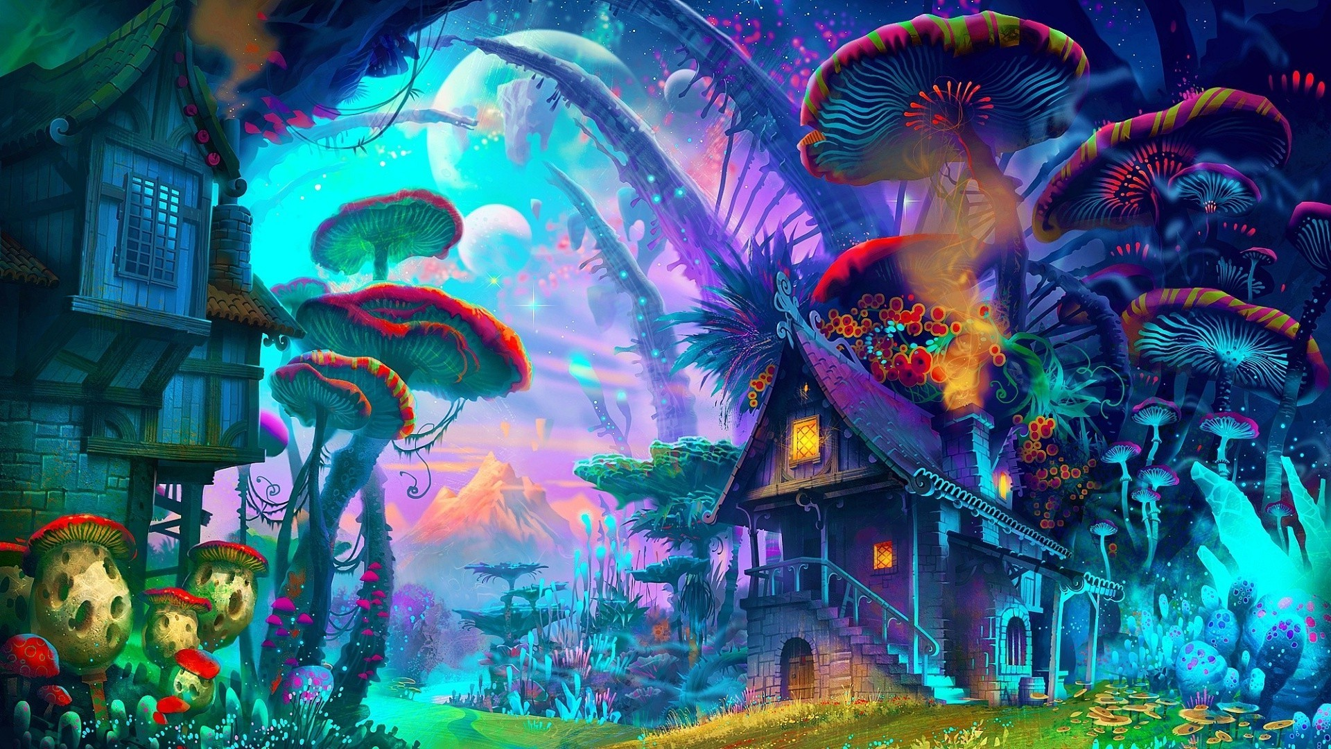1920x1080 fantasy Art, Drawing, Nature, Psychedelic, Colorful, House, Mushroom,  Planet, Plants, Mountain Wallpapers HD / Desktop and Mobile Backgrounds