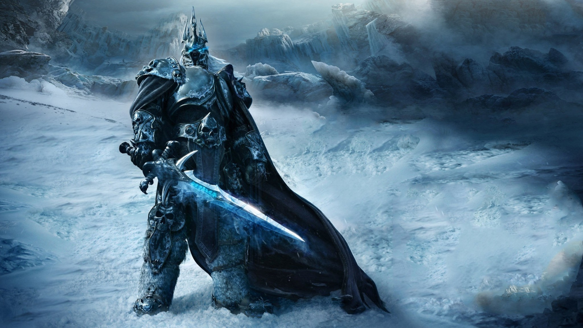 2048x1152 Preview wallpaper game, warrior, world of warcraft, wrath of the lich king