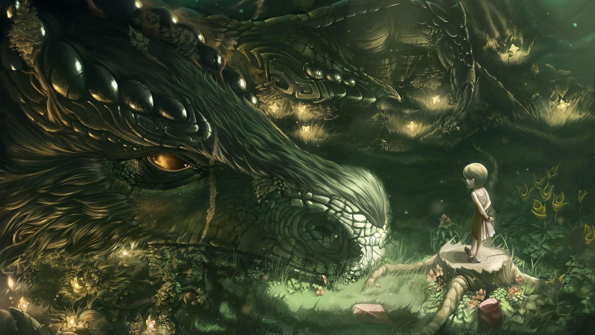 1920x1080 Preview wallpaper dragon, girl, forest, art 1920x1080