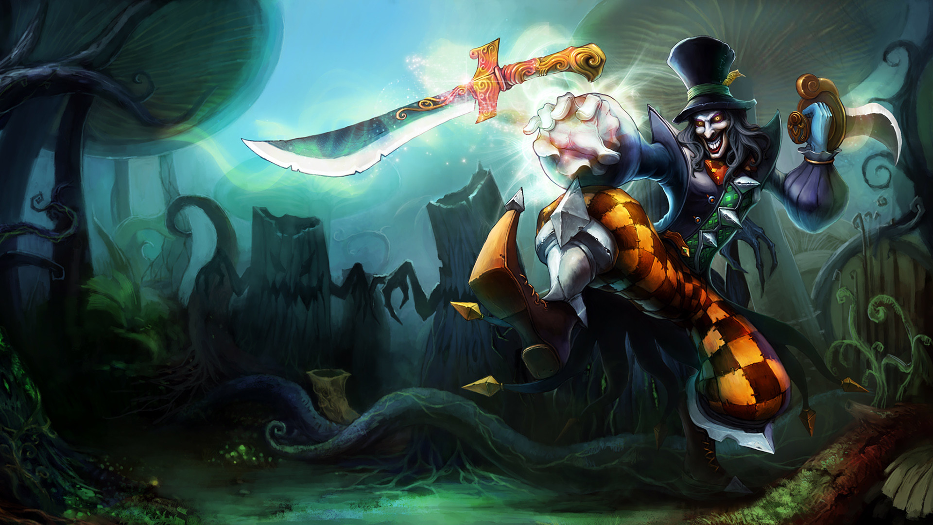 1920x1080 Mad Hatter Shaco Splash Art League of Legends Artwork Wallpaper lol