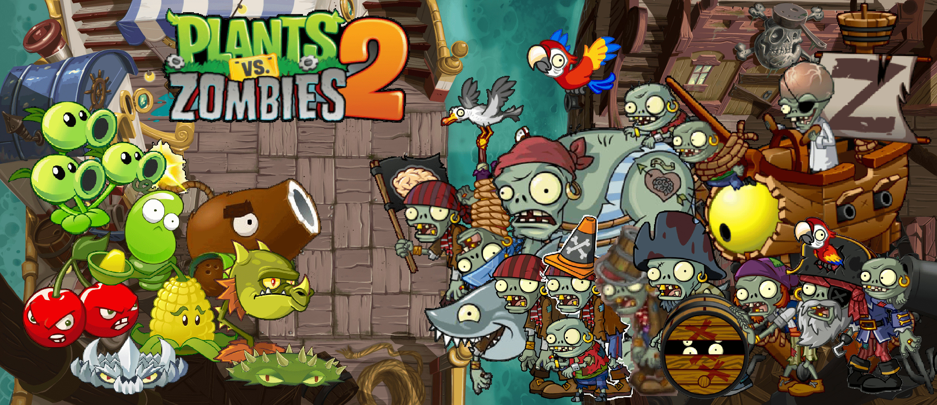 3000x1297 Plants Vs Zombies Bedroom Wallpaper Fantastic Plants Vs Zombies Wallpapers  Wallpaper Cave