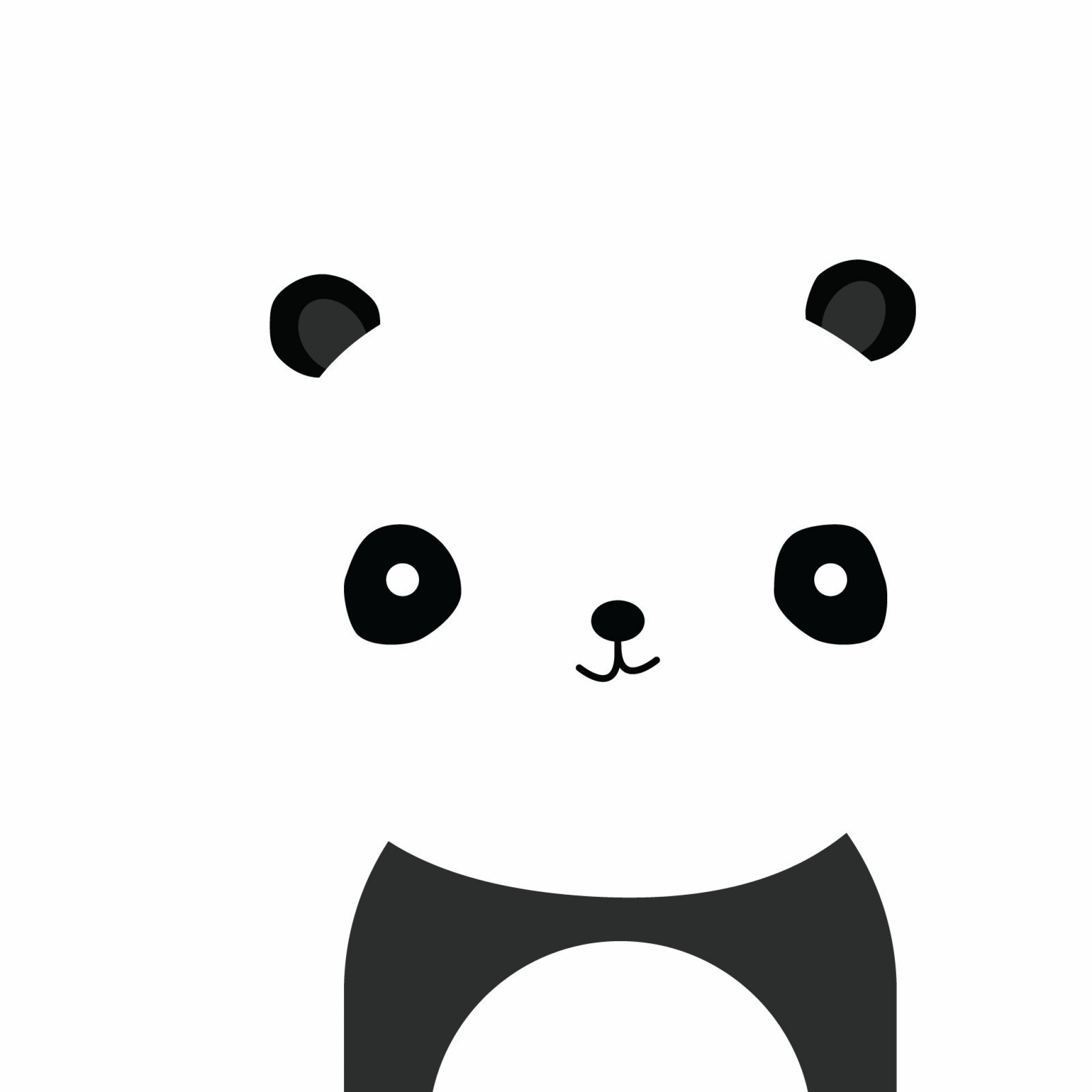 2048x2048 Preview wallpaper panda, smile, white, black, minimalist