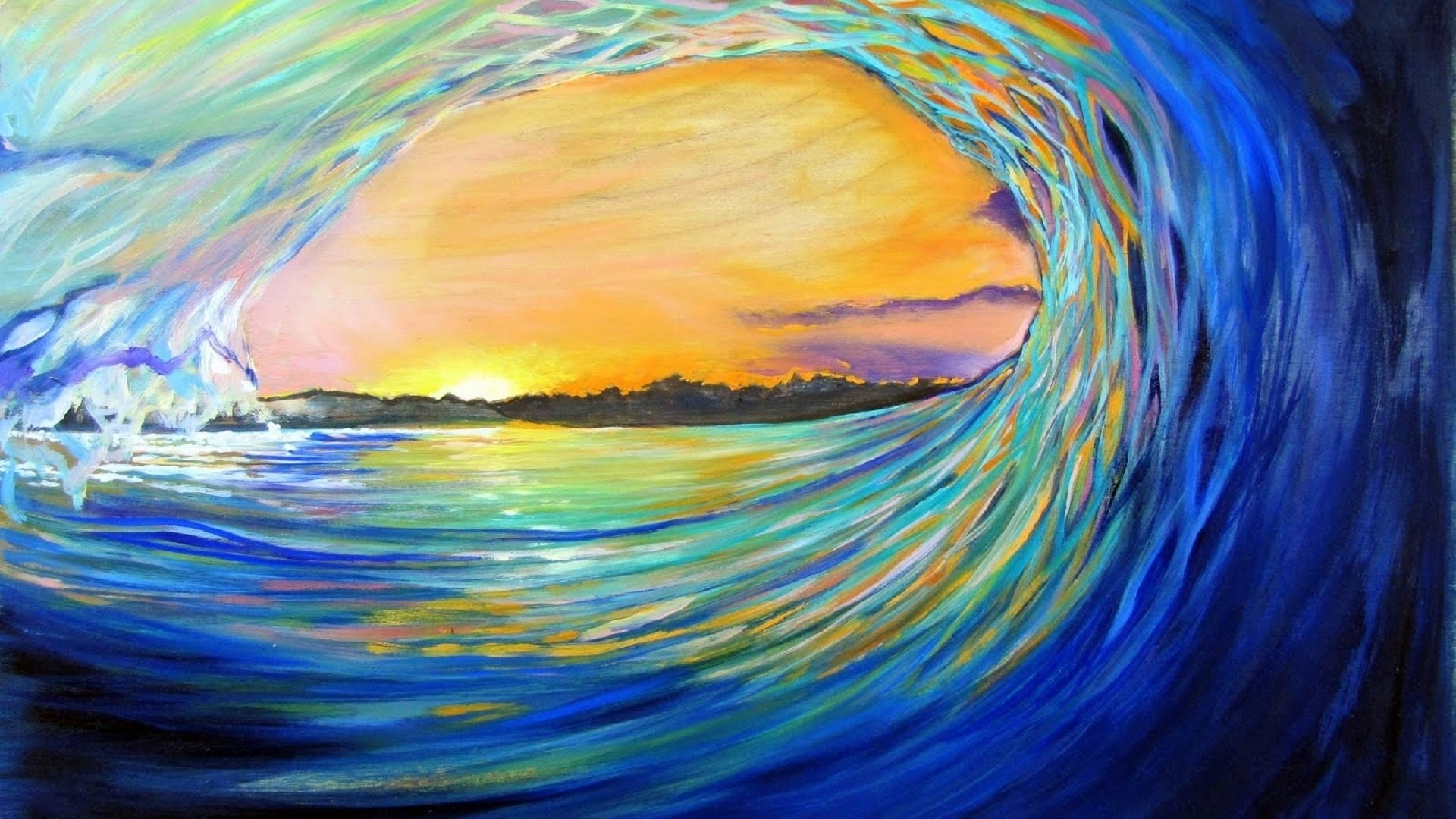 1920x1080 Artistic - Wave Artistic Ocean Sea Painting Sun Sunset Wallpaper