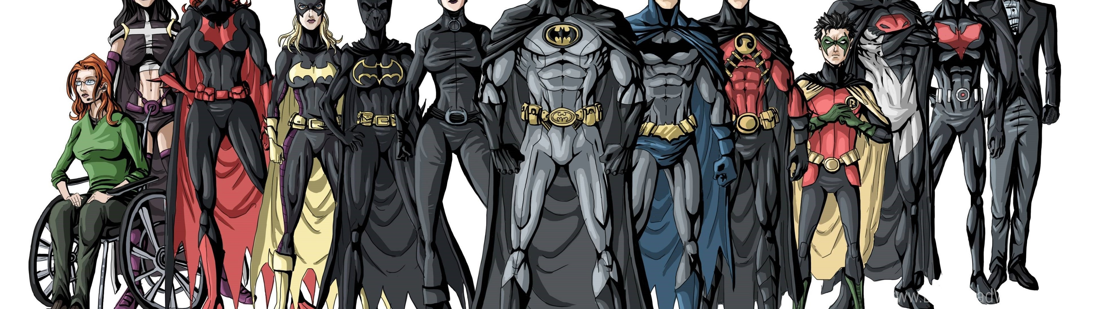 3840x1080 Download Dual Screen Wide  - Batman, Betgerl, Dick Grayson, Jason  Todd, Nightwing, Red Cap, Robin, Stephanie Brown, Tim Drake Wallpaper