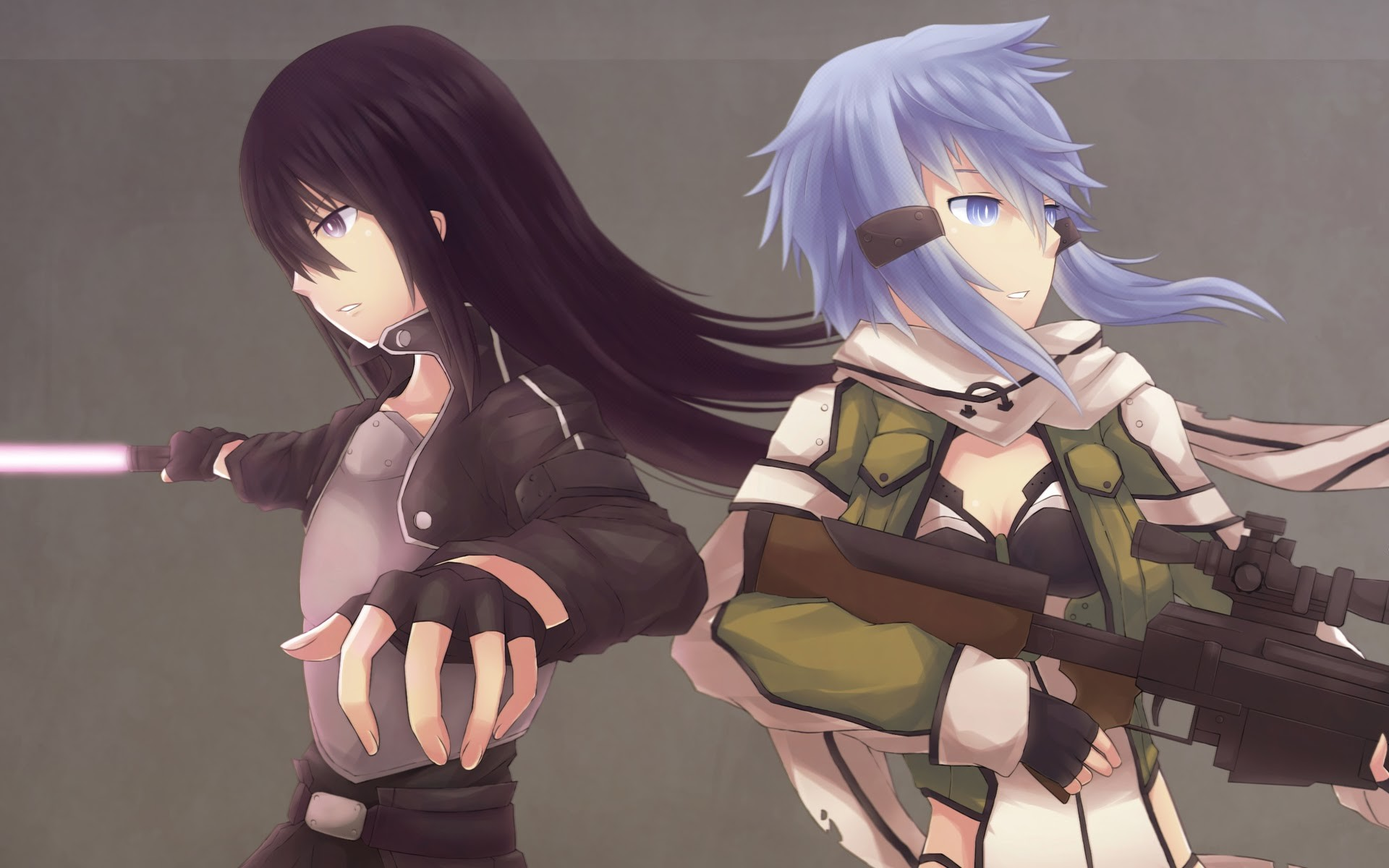 1920x1200 sinon kirito sword art online 2 gun gale online anime 2014 hd wallpaper
