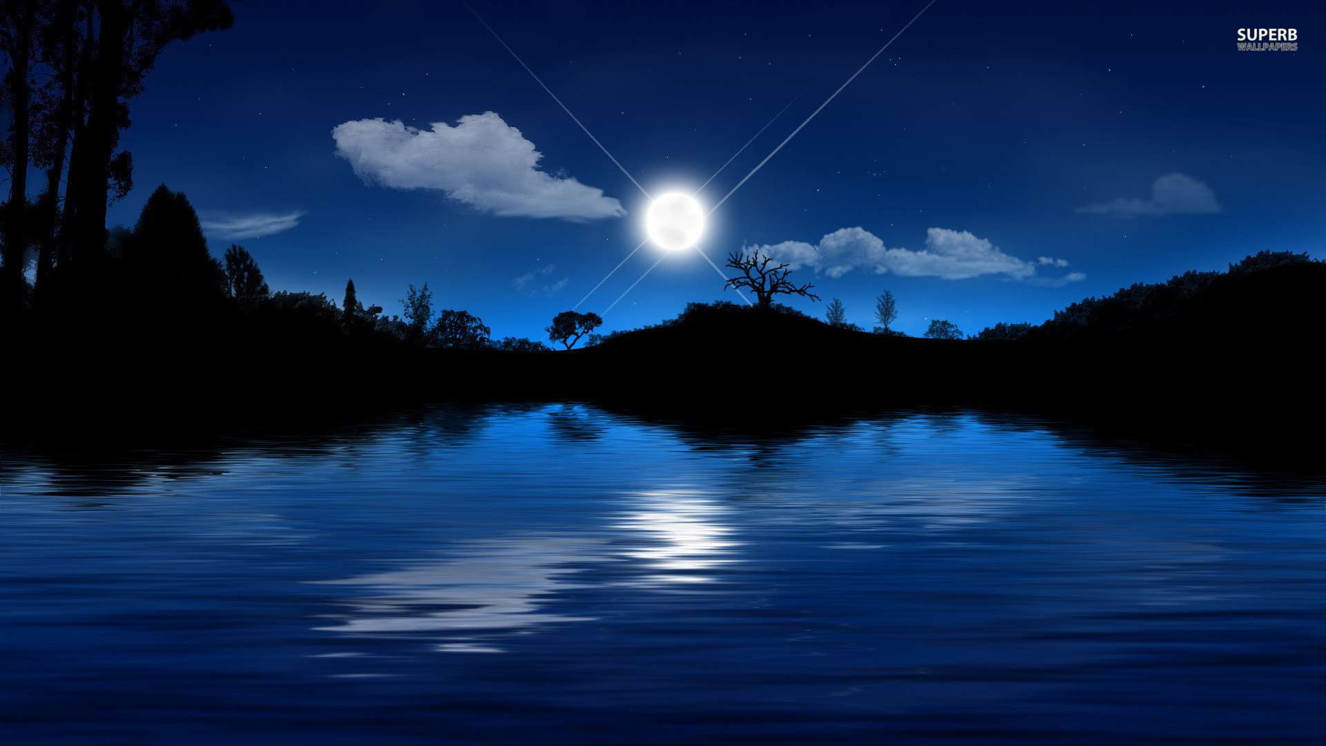 1920x1080 Clear Moonlit Lake HD Desktop Wallpaper, Background Image