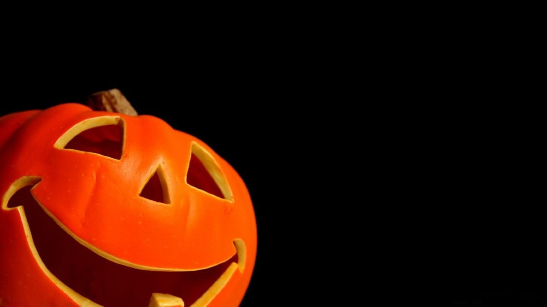 1920x1080  Download Pumpkin Holiday Black background Halloween Smiling  wallpaper