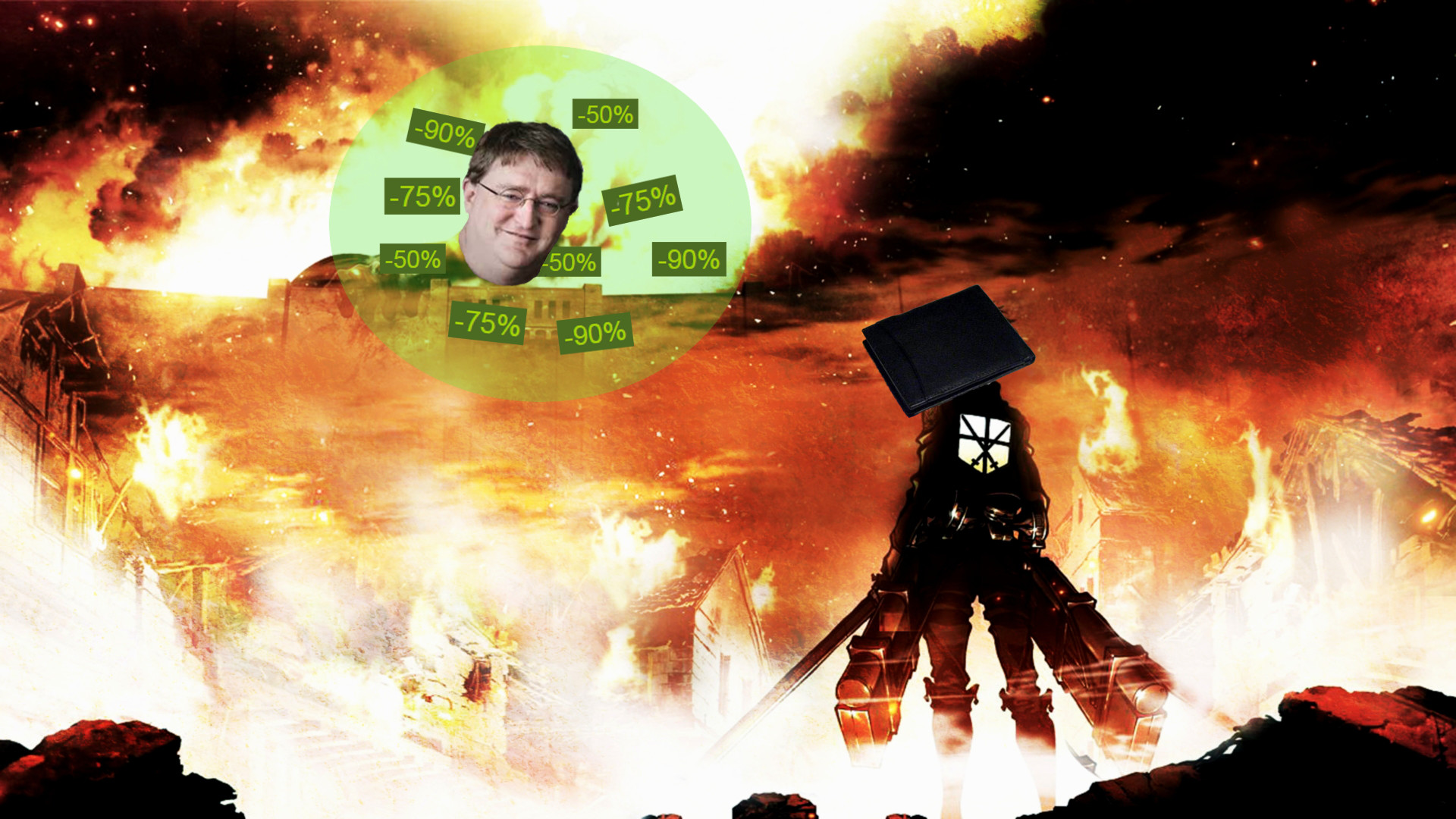 "1920x1080 A quick wallpaper I made for any Attack On Titan fans. I call it ""Attack on  Gaben"" ..."
