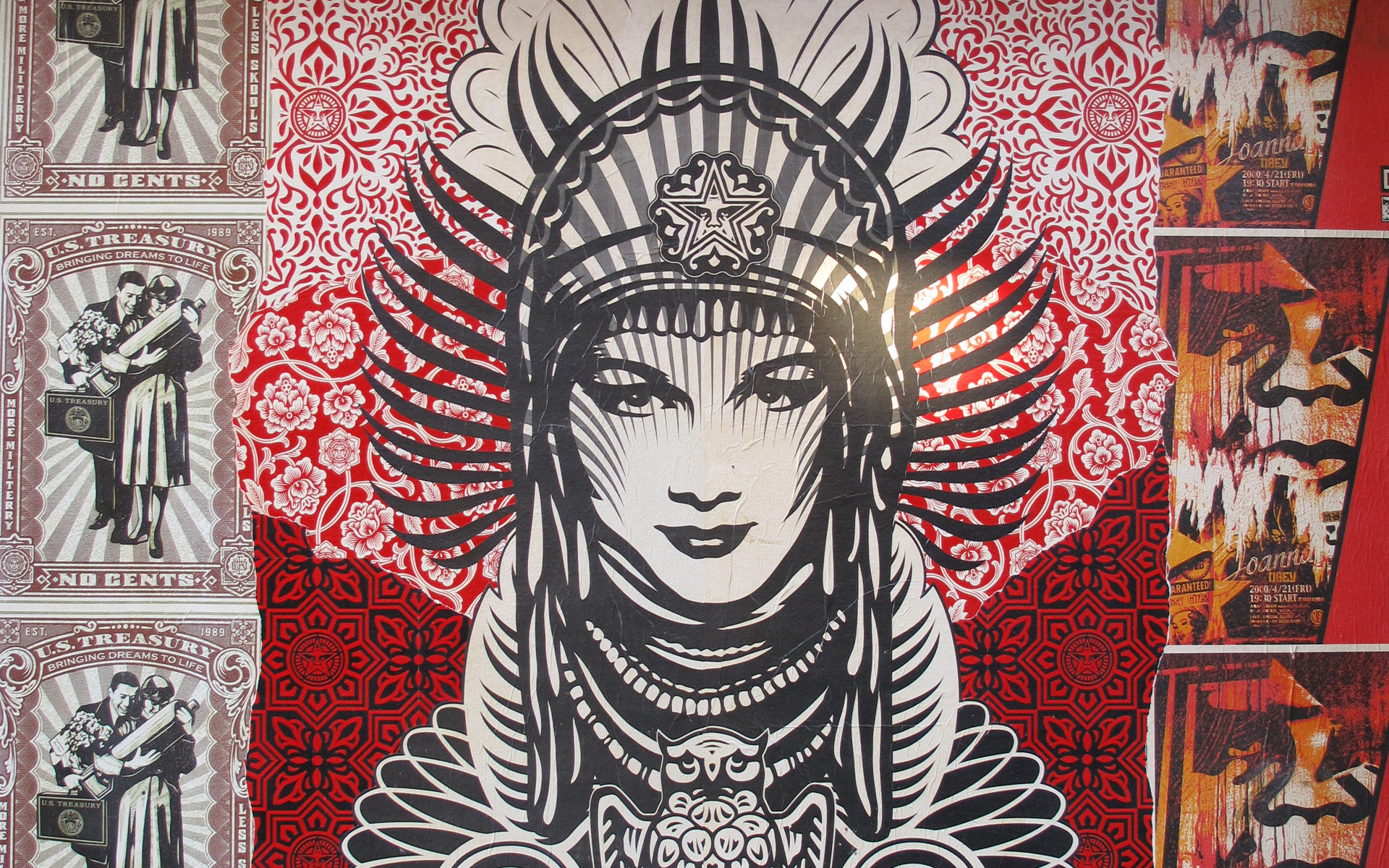 1920x1200 The real street giant shepard fairey and obey propaganda bananas jpg   Marc ecko mural art