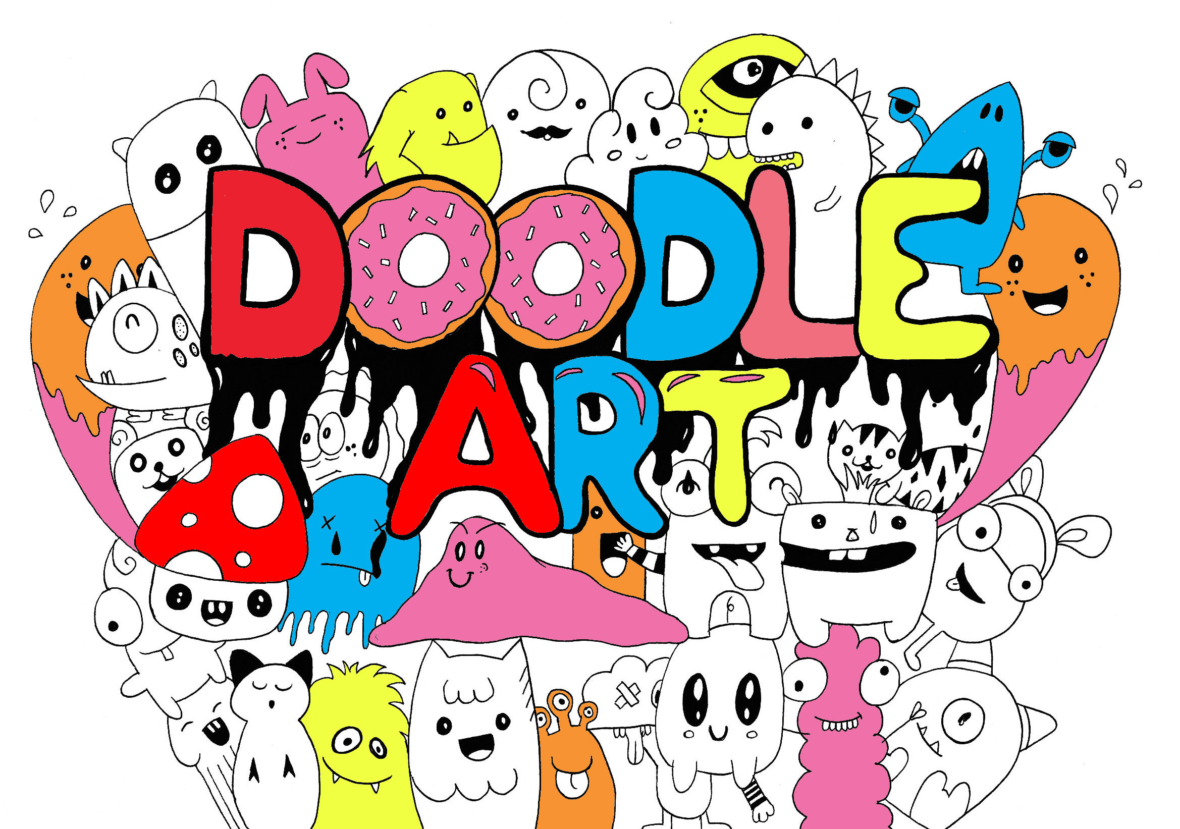 doodle colored wallpapers cute doodling coloring pages doodles adults drawings google graffiti cool designs il le