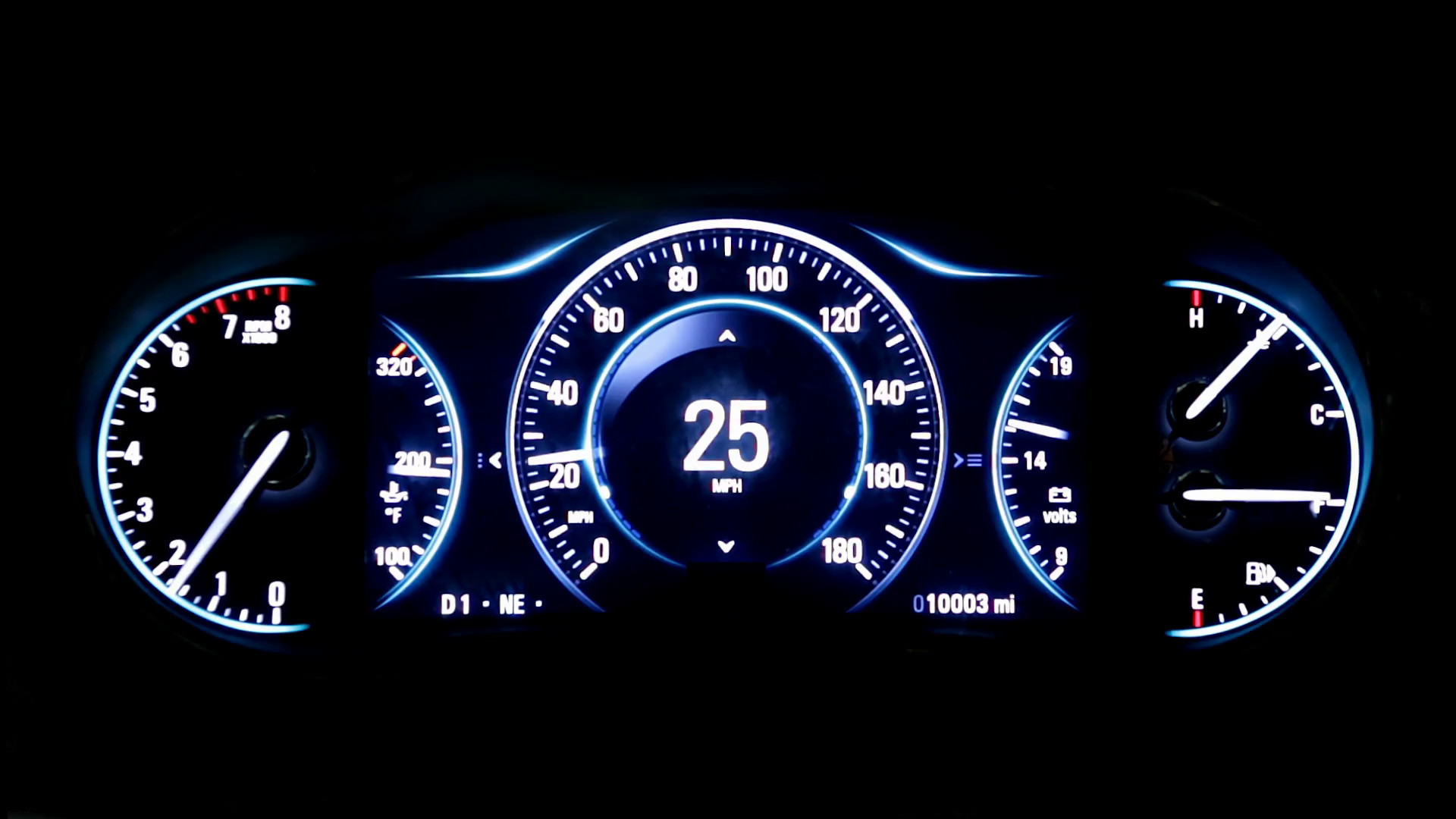 1920x1080 Modern light car mileage (dashboard, milage) isolated on a black background.  New display of a modern car. RPM, Fuel indicator and temperature. Sport.  mph.