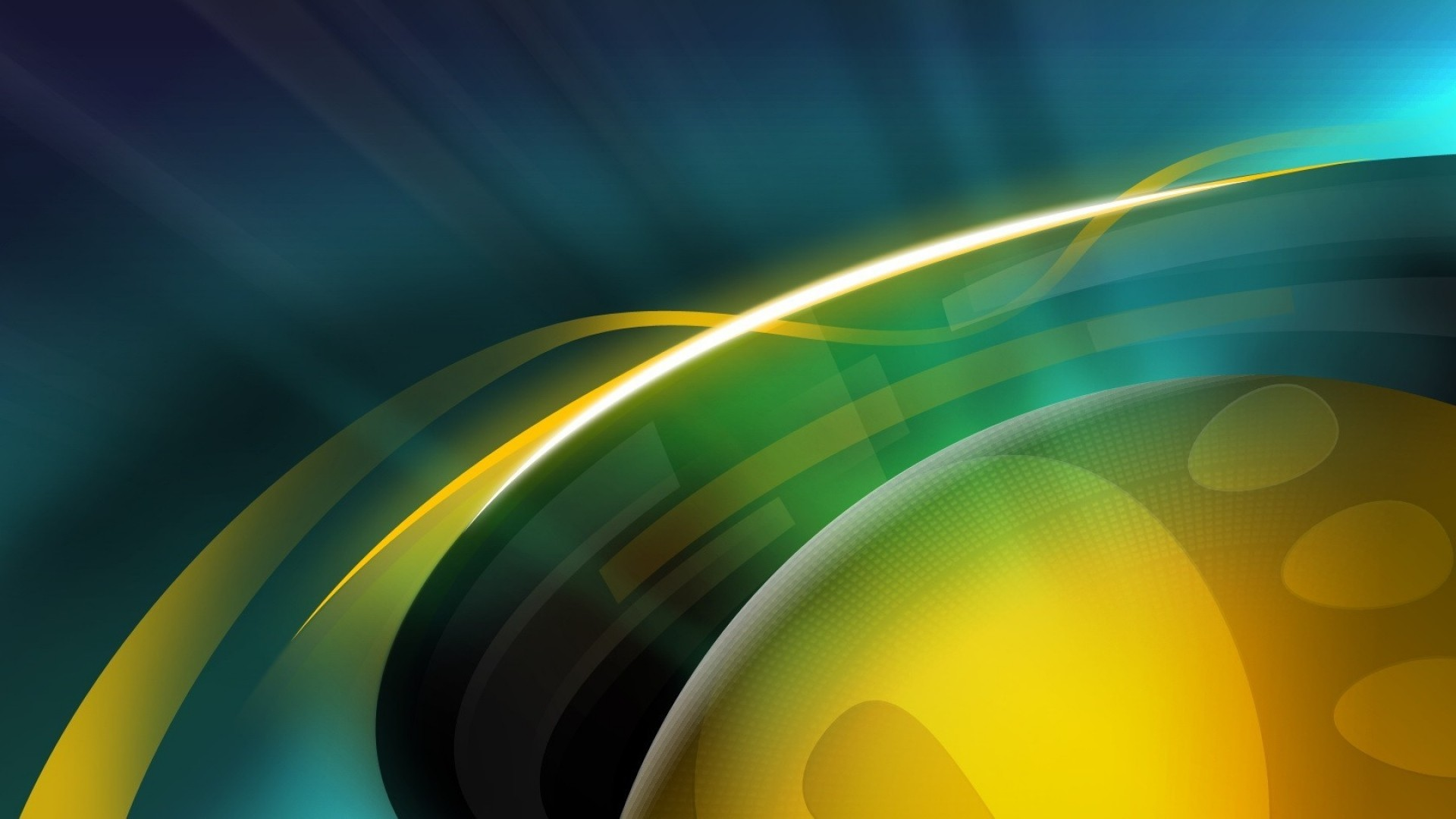 1920x1080  Wallpaper ball, circle, yellow, blue, green