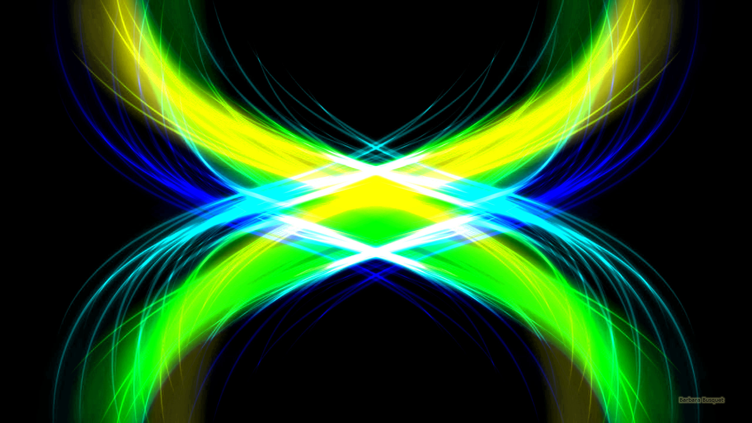 2560x1440 Blue Green Neon Lines Wallpapers