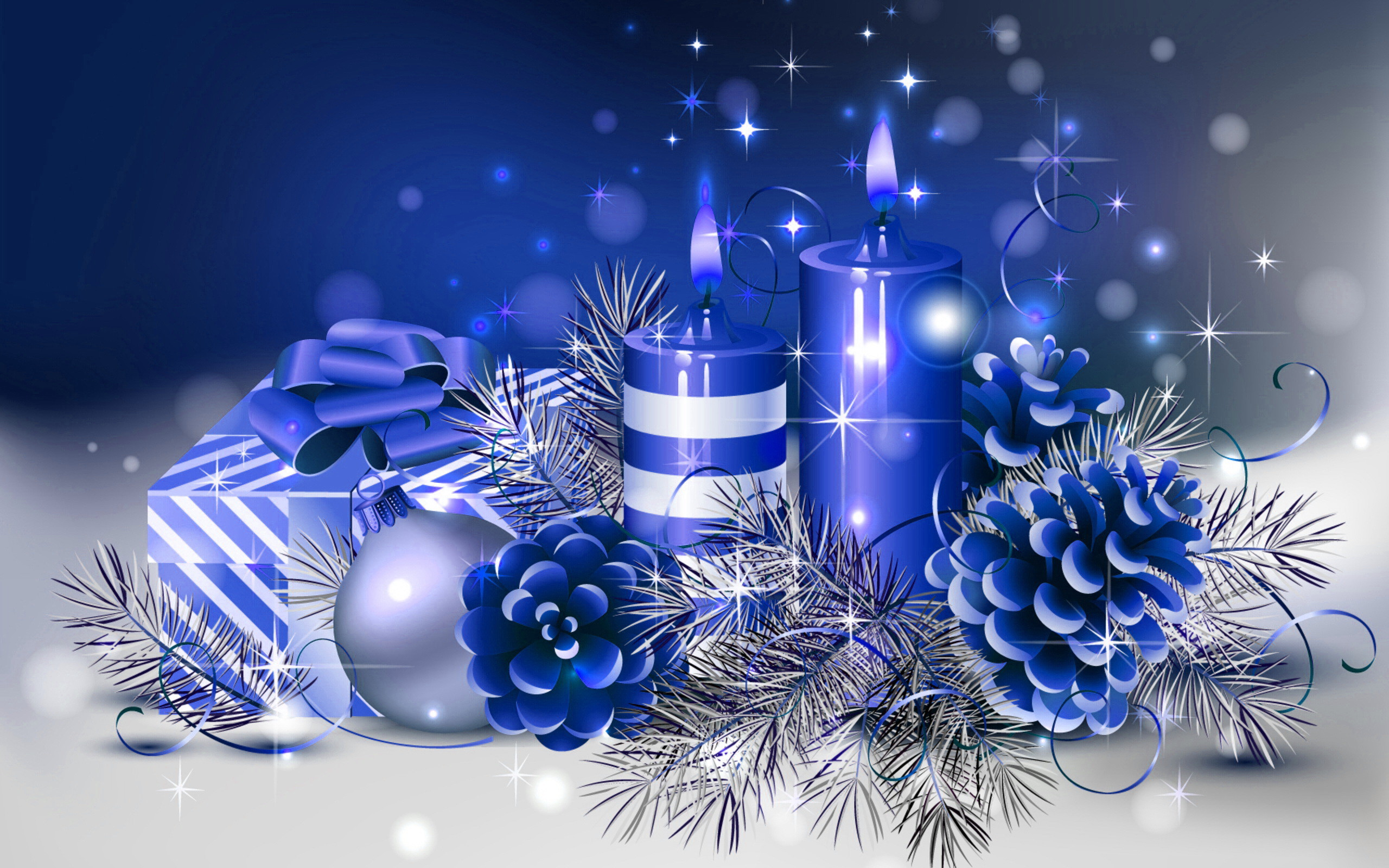 2560x1600 HD Blue Christmas Wallpaper.