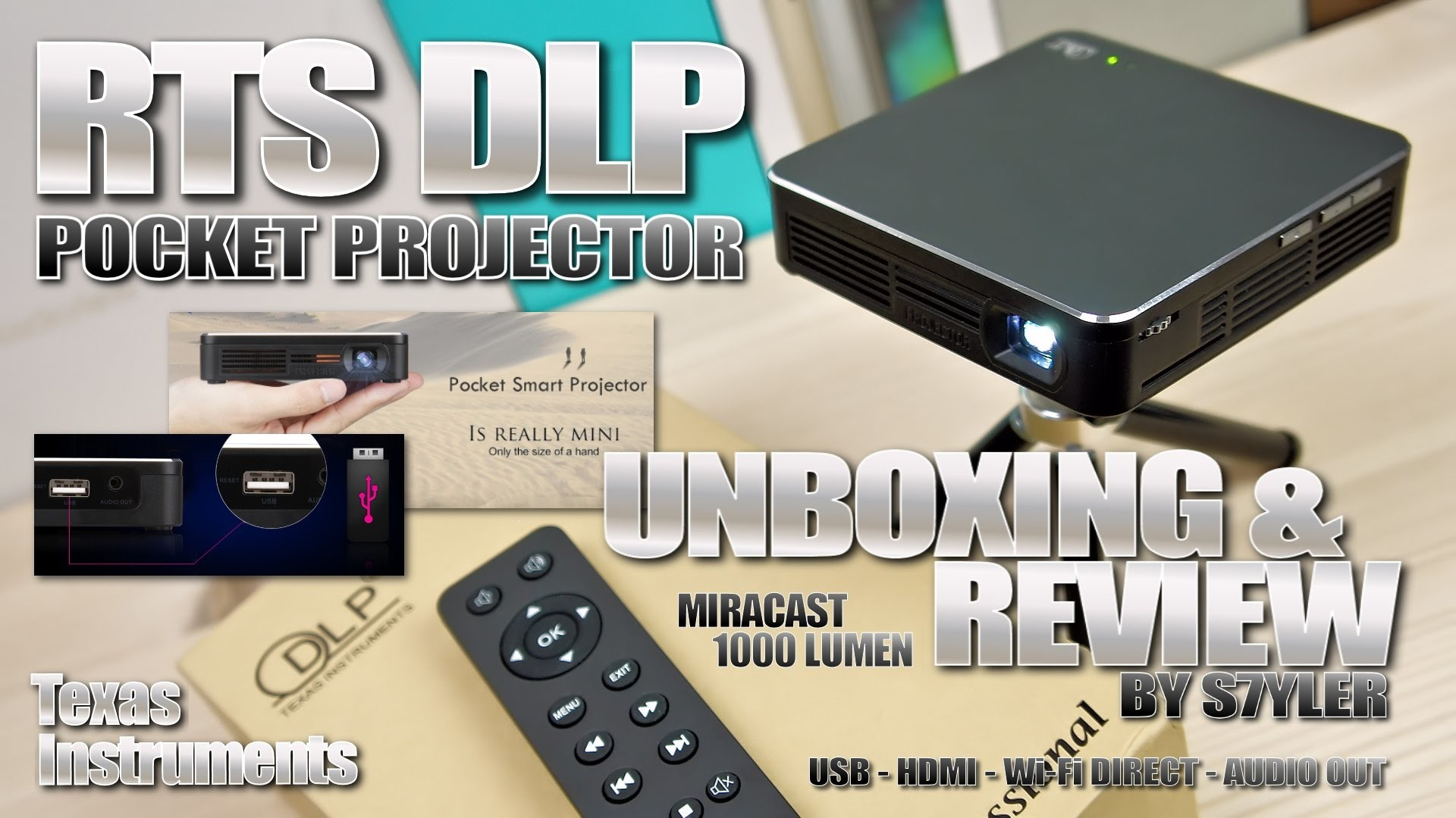 1920x1080 RTS DLP Projector (Texas Instruments) - Great Affordable Pocket Projector  with Miracast // by s7yler - YouTube