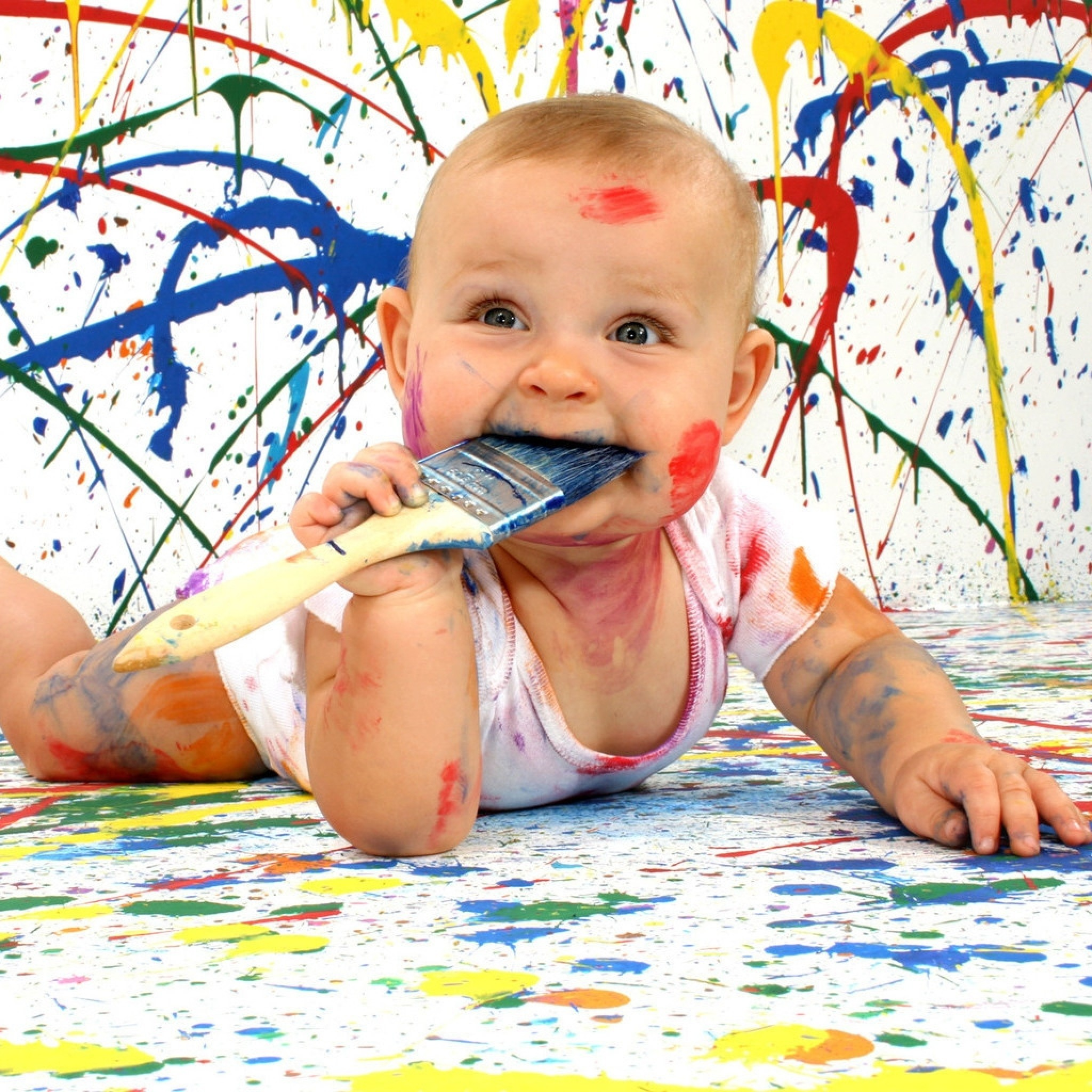 2048x2048  Wallpaper baby, amusing, paint, dirty, funny, bully