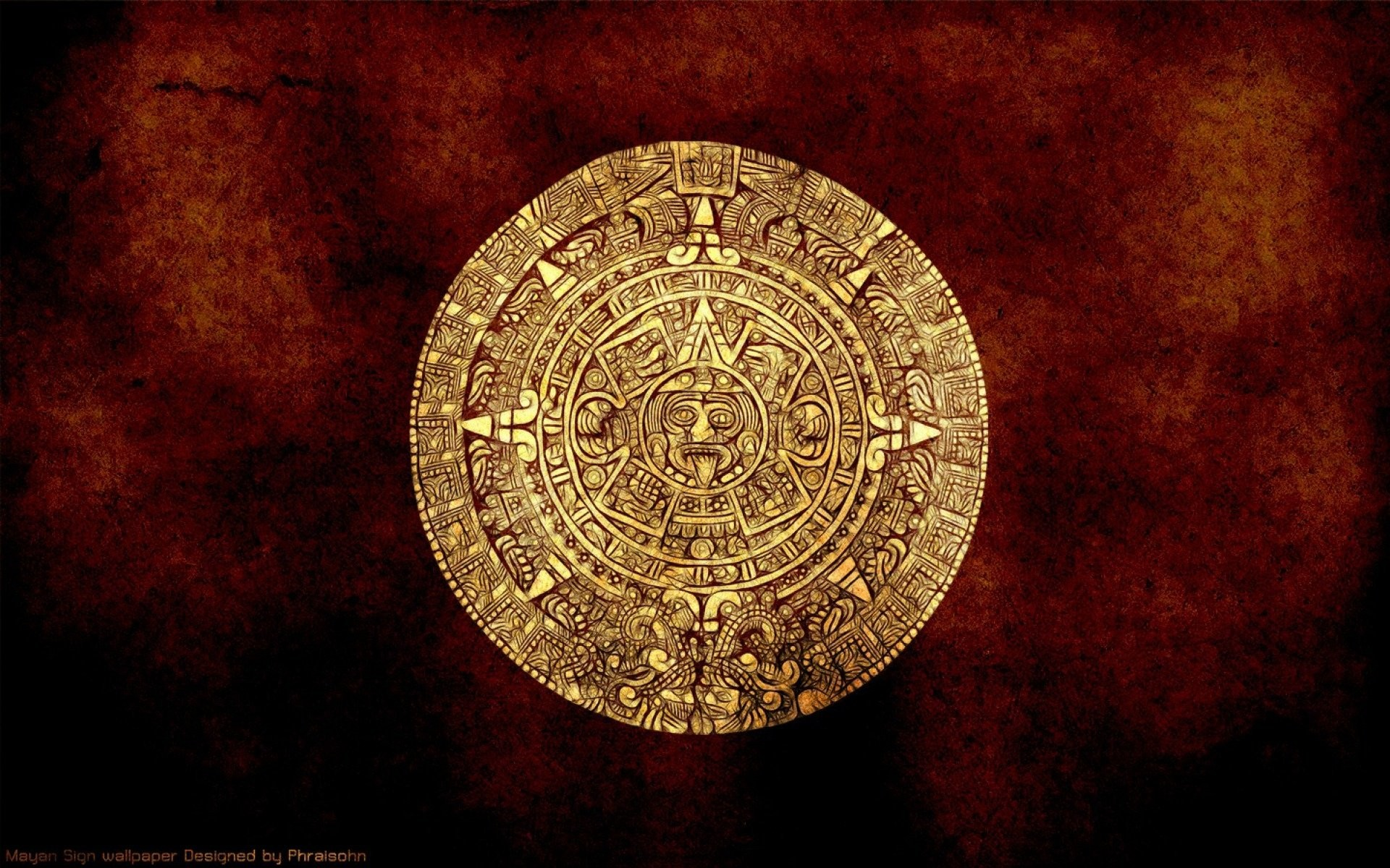 1920x1200 Artistic - Aztec Abstract Calendar Gold Wallpaper