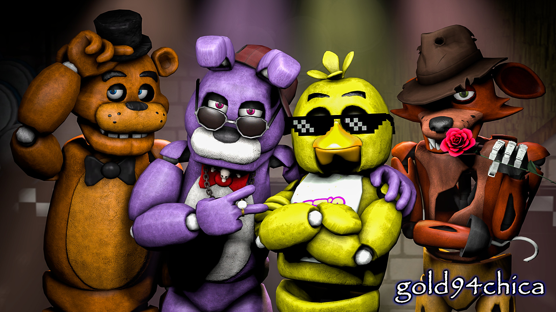 1920x1080 Epic Friends Forever (FNAF SFM Wallpaper), FNAF main animatronics wallpaper