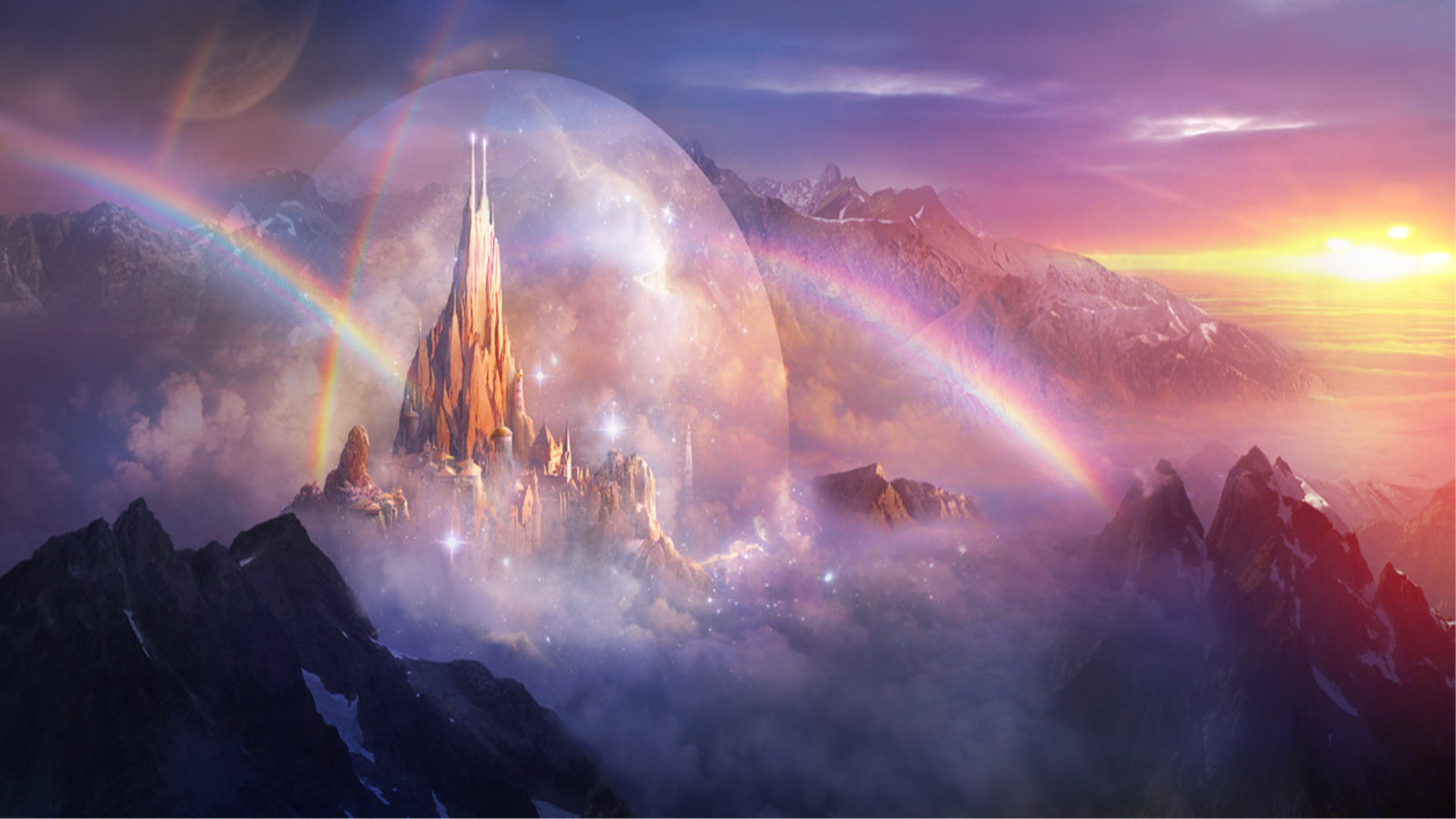 2500x1562 Image For Fantasy Mountain Castles Wallpaper Free HD
