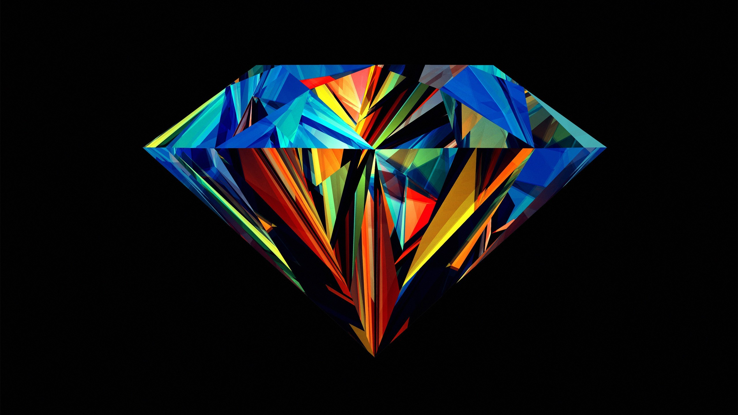 2560x1440 Abstract Black Background Dark Diamond Geometry Justin Maller Multicolor  Shapes ...