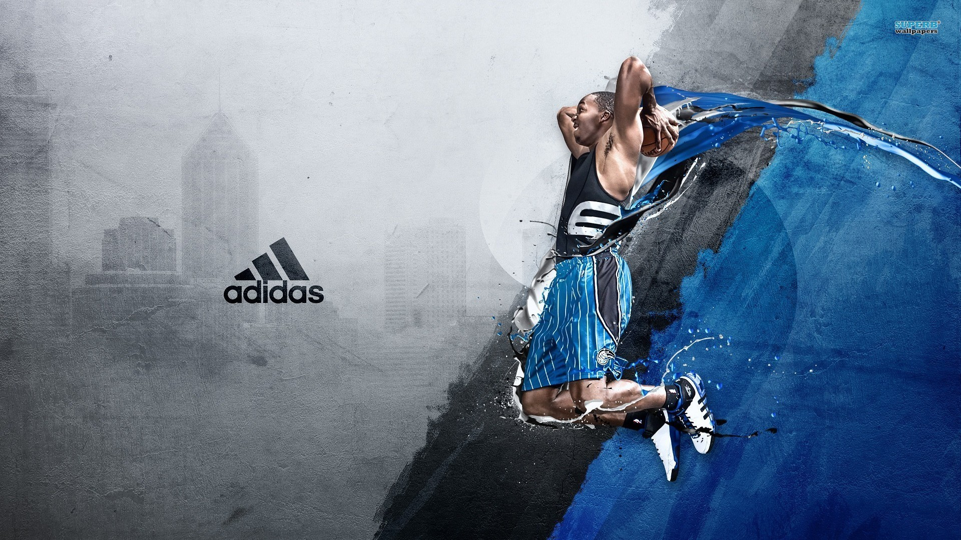 1920x1080 Dwight Howard Desktop Wallpaper - In Orlando Magic Jersey, Laying Up to Dunk