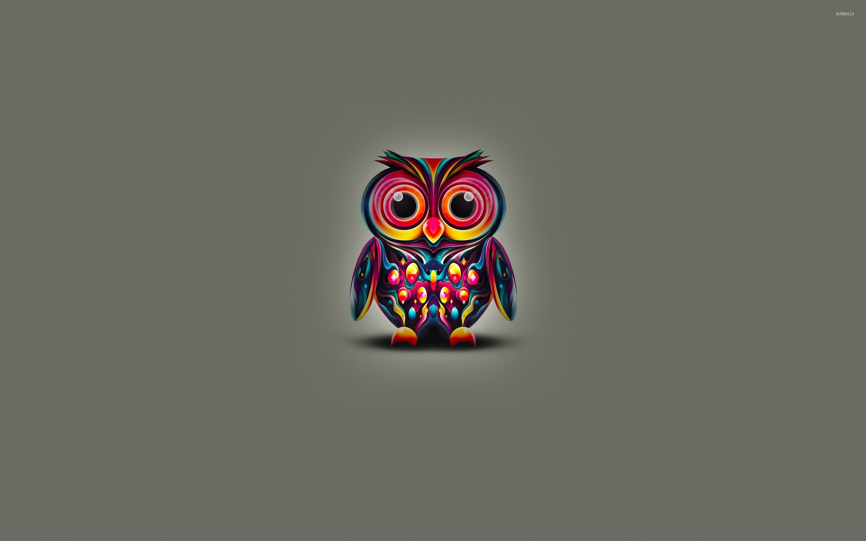 Cute owl wallpapers 65 images 2880x1800 cute owl with colorful bright feathers wallpaper voltagebd Images