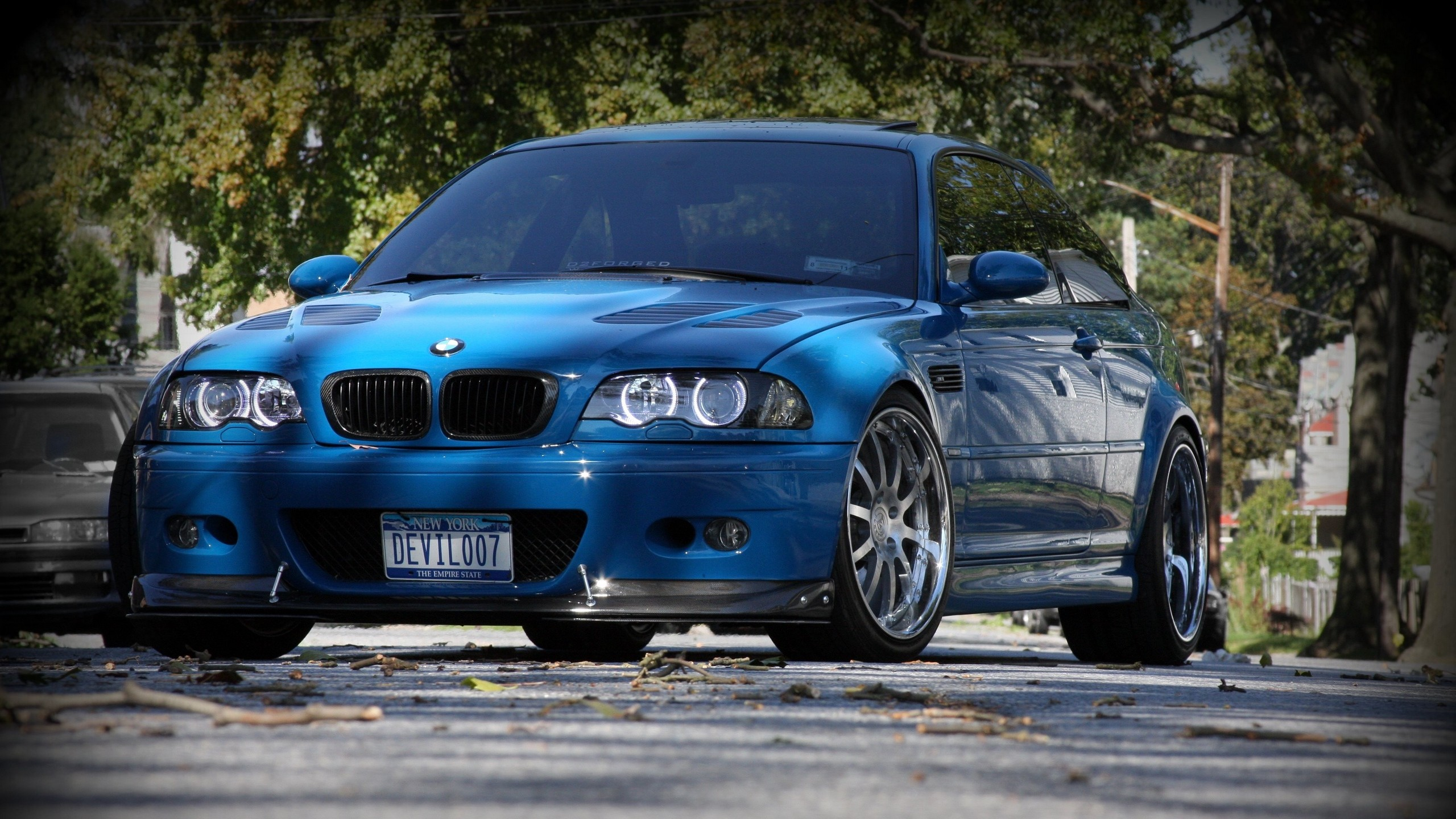 2560x1440  Wallpaper bmw, m3, e46, blue, front view