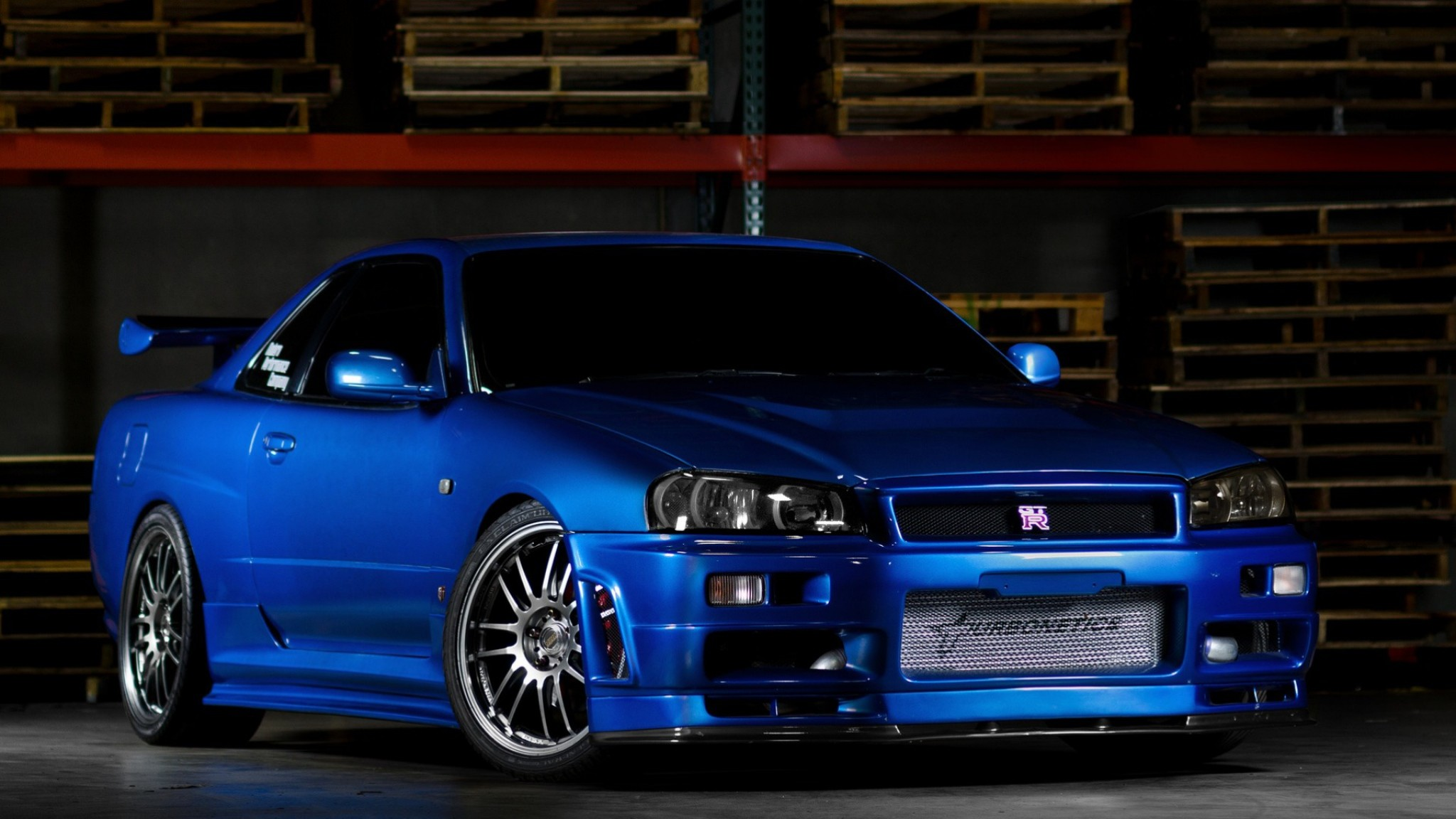 2048x1152 Preview wallpaper nissan skyline, gtr, r34, blue, front view