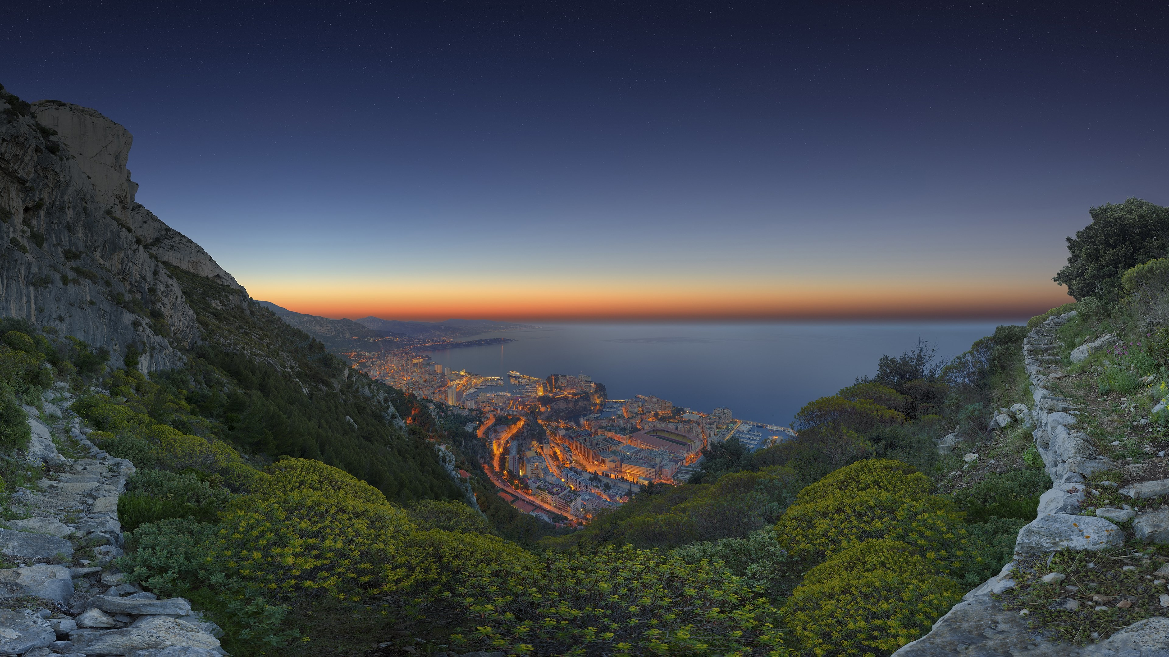 3840x2160 Hot sunrise in this panoramic picture from Monaco featured below in 4k, HD  and wide sizes with the permission of talented photographer - Rainer · Save  the ...