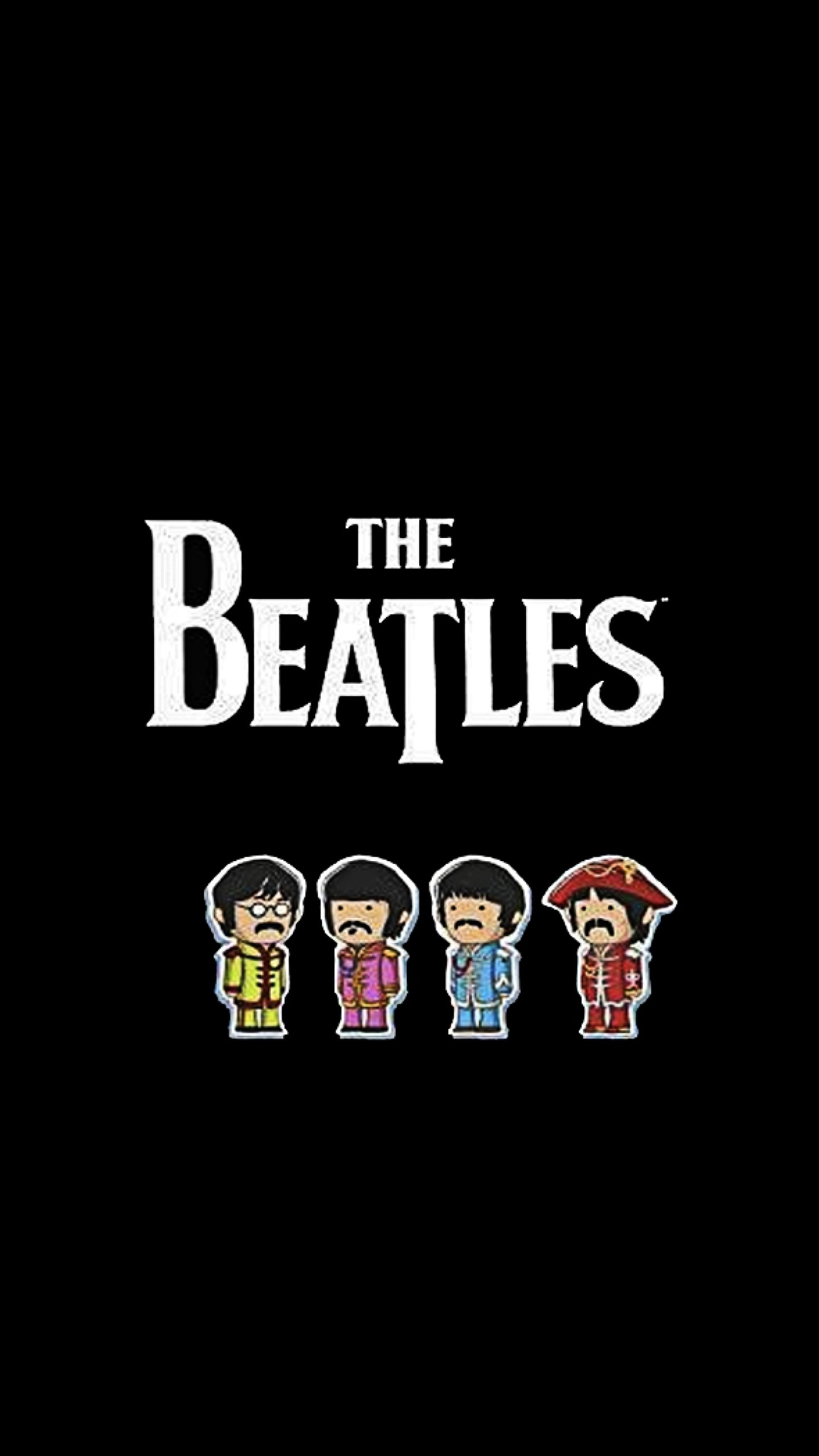 1440x2560 Preview Wallpaper The Beatles Name Members Picture Font