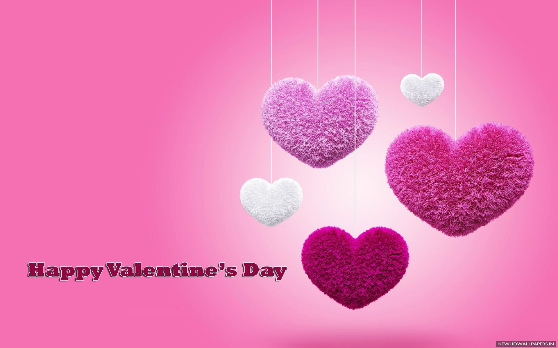 1920x1200 3D Love Pink Hearts Valentines Background