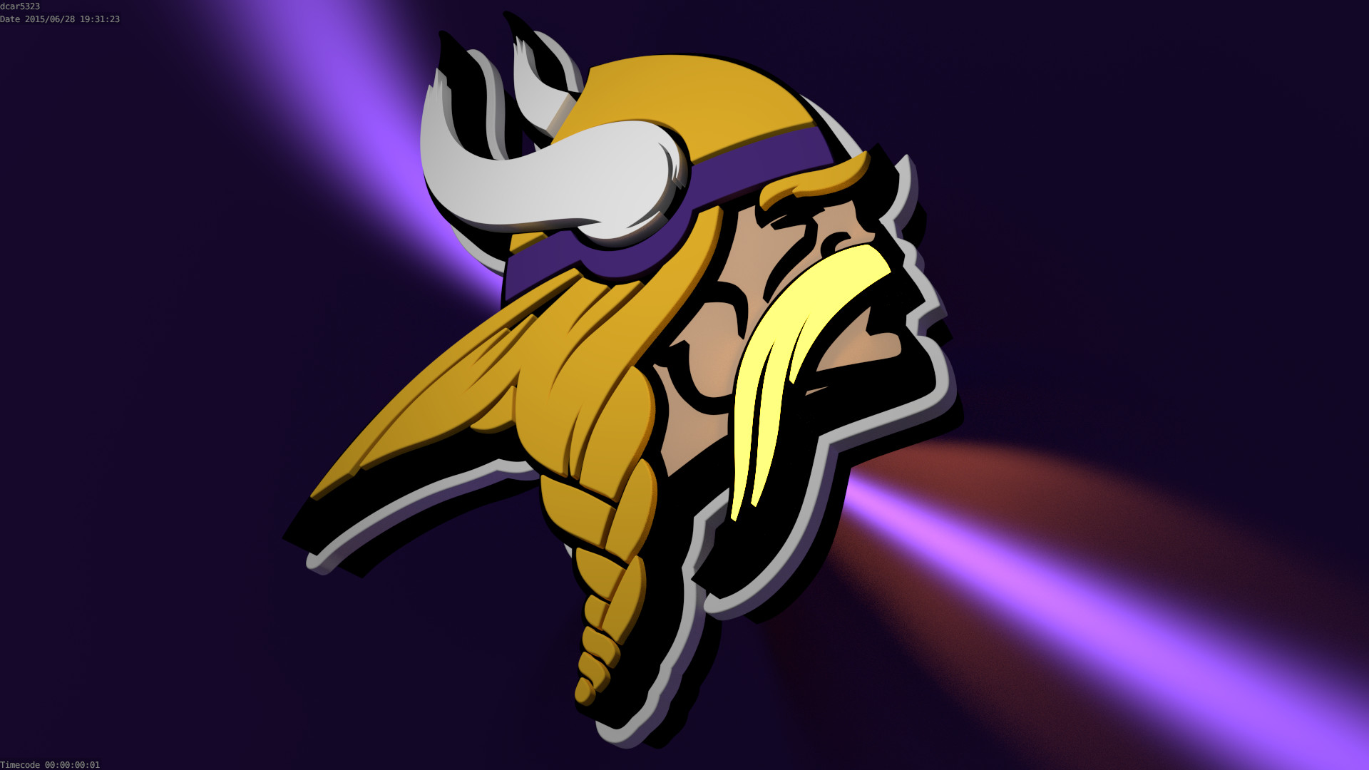 1920x1080 I'm learning how to 3D Model, so I'm recreating NFL logos as practice.  Here's the Vikings logo!